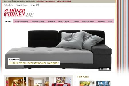 sch ner wohnen richtet sich im web ein. Black Bedroom Furniture Sets. Home Design Ideas