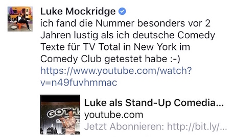 Luke Mockridge Kommentar