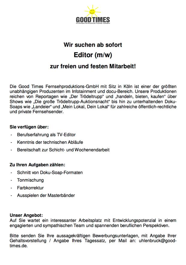 Editor (m/w)
