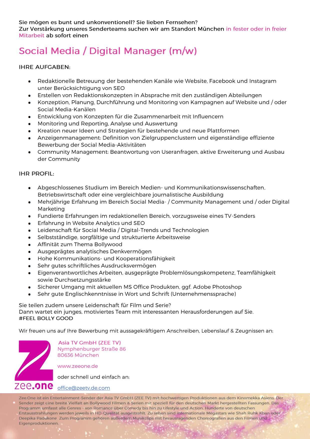 Social Media / Digital Manager (m/w)