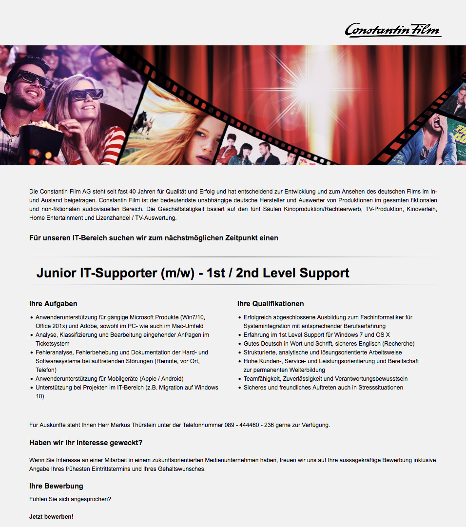 Junior IT-Supporter (m/w) - 1st / 2nd Level Support
