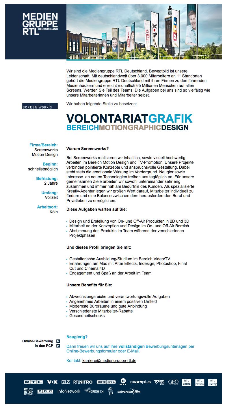 volontariat grafik bereich motiongraphic design screenworks - Matthias Malmedie Lebenslauf