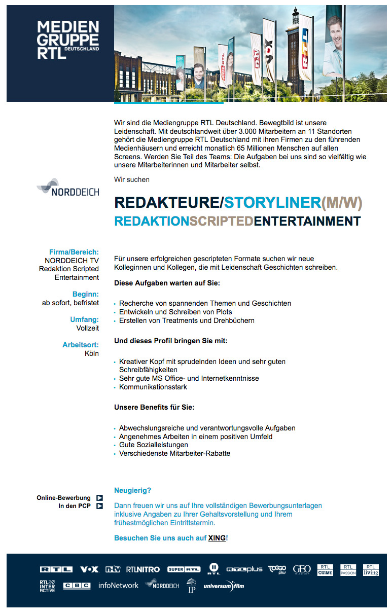 Redakteure/Storyliner (m/w) Redaktion Scripted Entertainment (NORDDEICH TV)