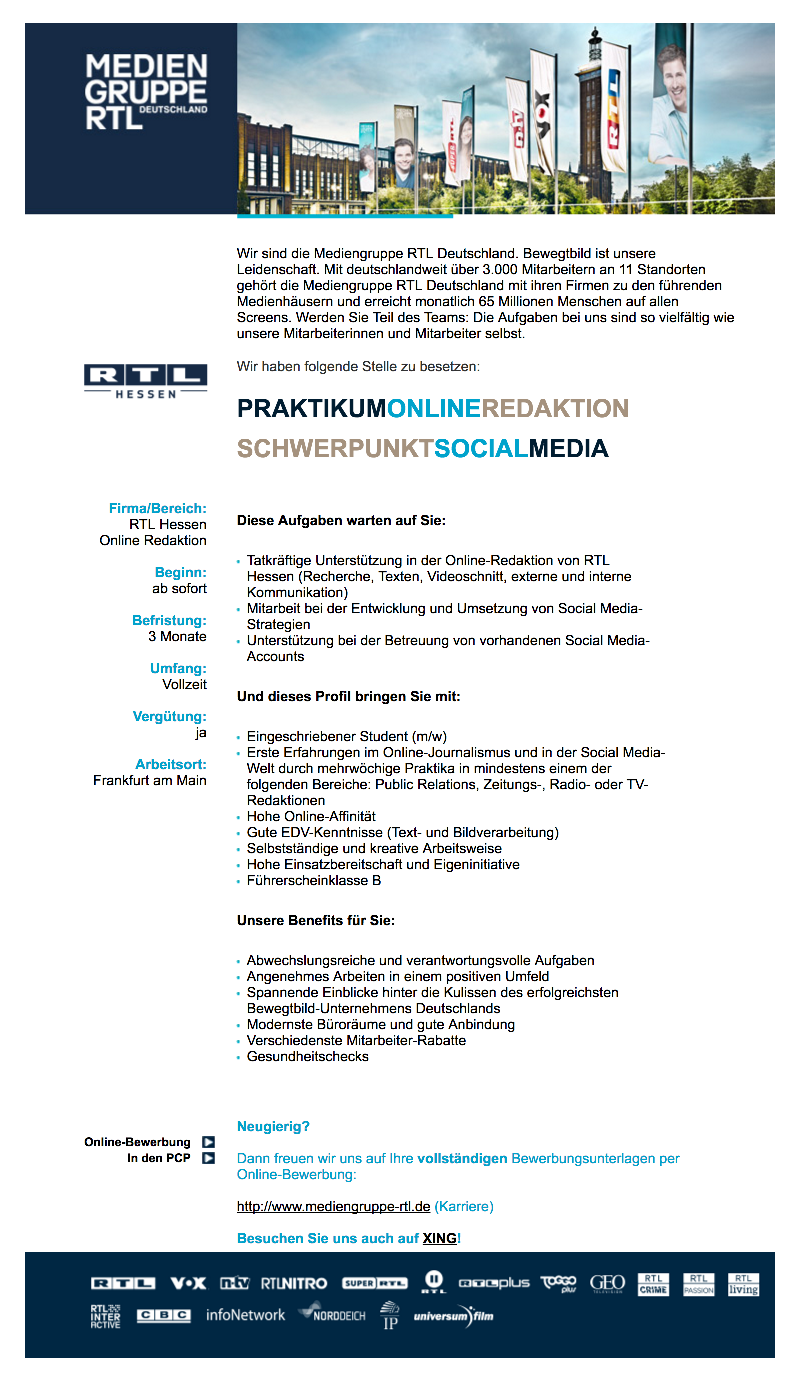 praktikum online redaktion schwerpunkt social media rtl hessen - Autovision Online Bewerbung