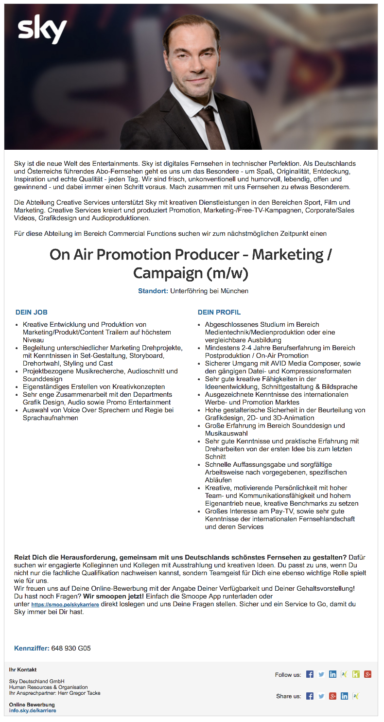 On Air Promotion Producer - Marketing / Campaign (m/w)