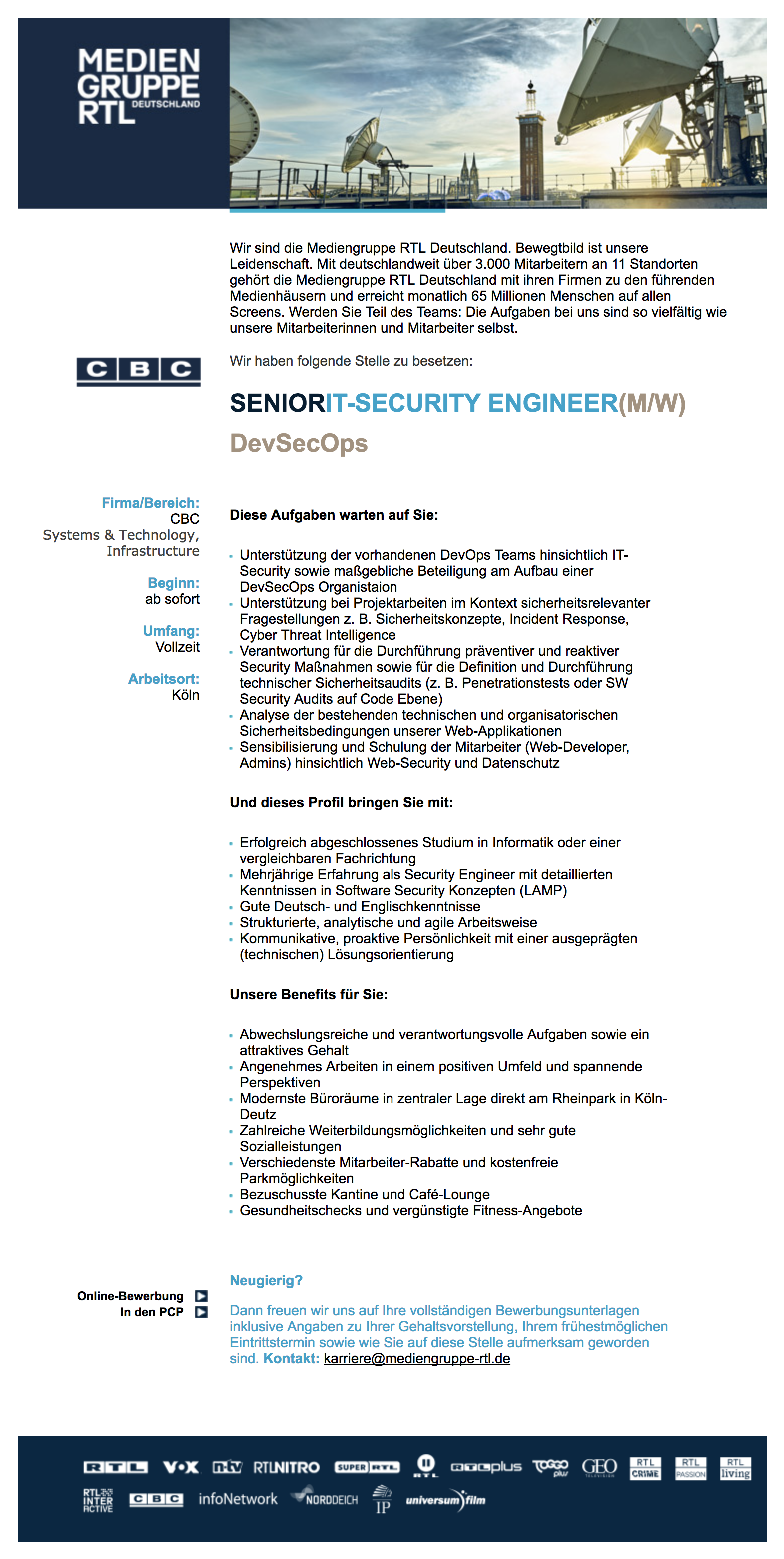 Senior IT-Security Engineer (m/w) - DevSecOps (CBC)
