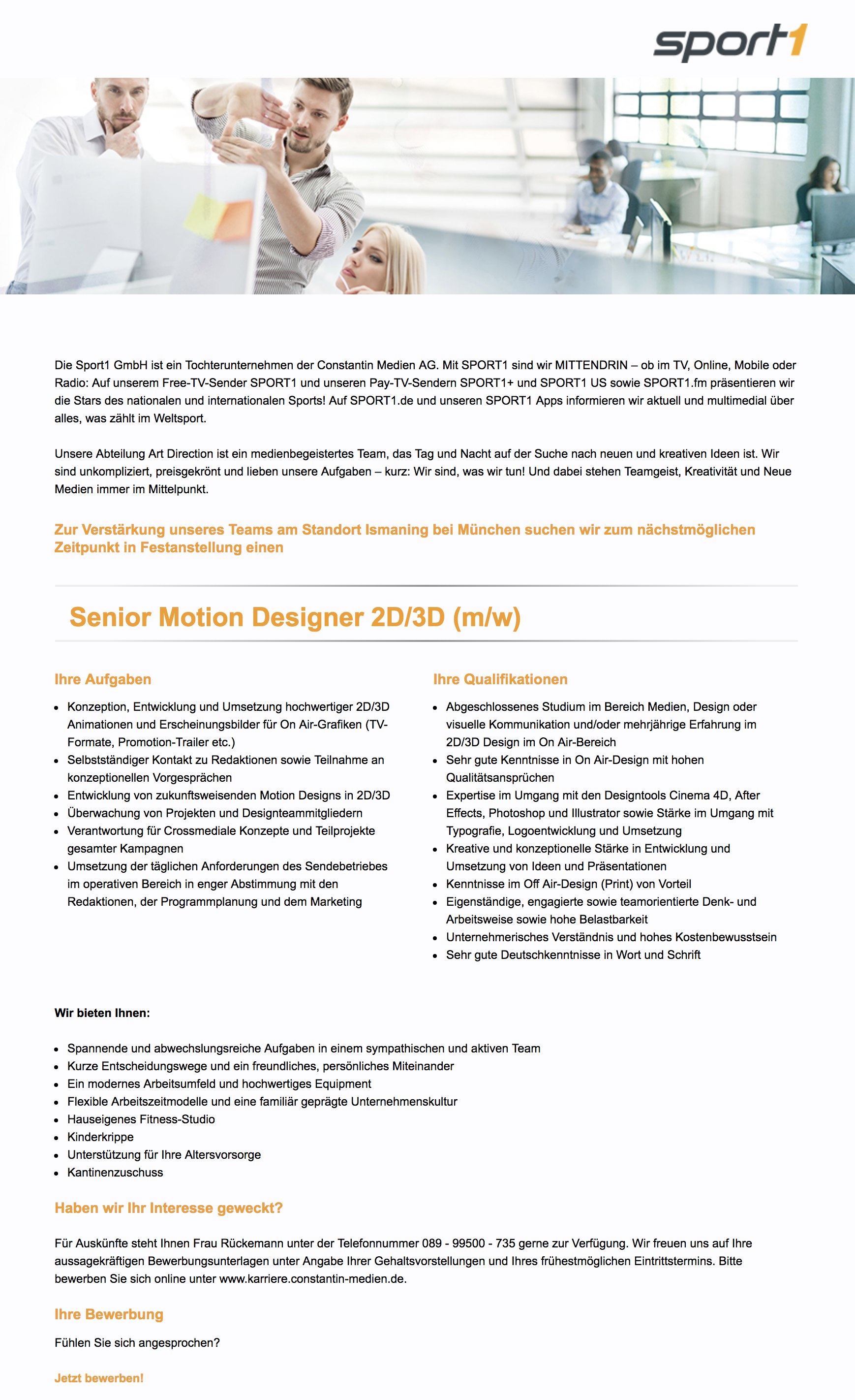 Senior Motion Designer 2D/3D (m/w)
