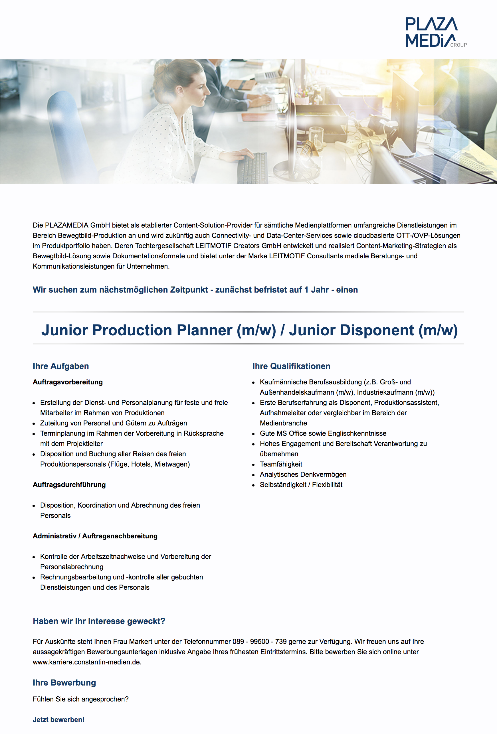 Junior Production Planner (m/w) / Junior Disponent (m/w)