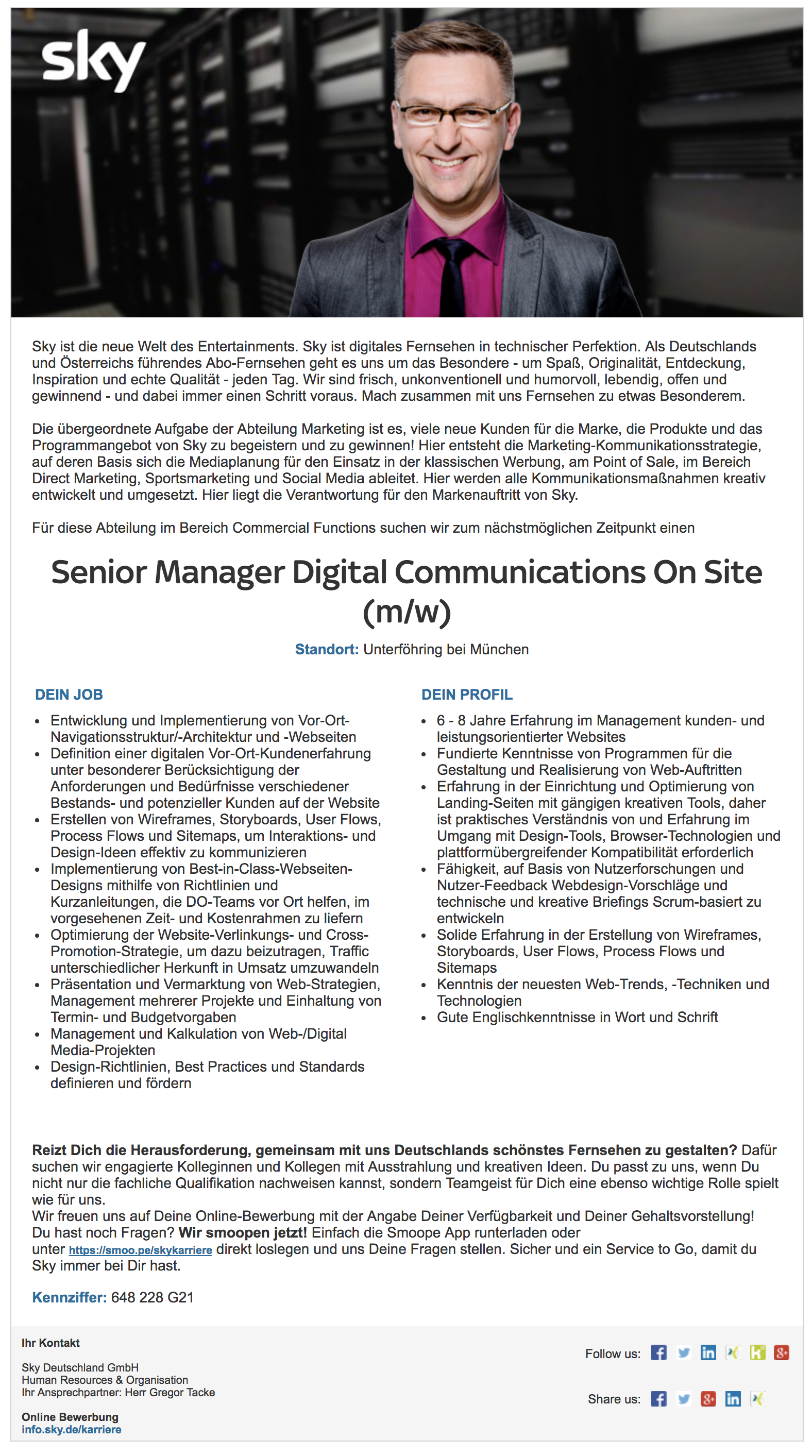 Senior Manager Digital Communications On Site (m/w)