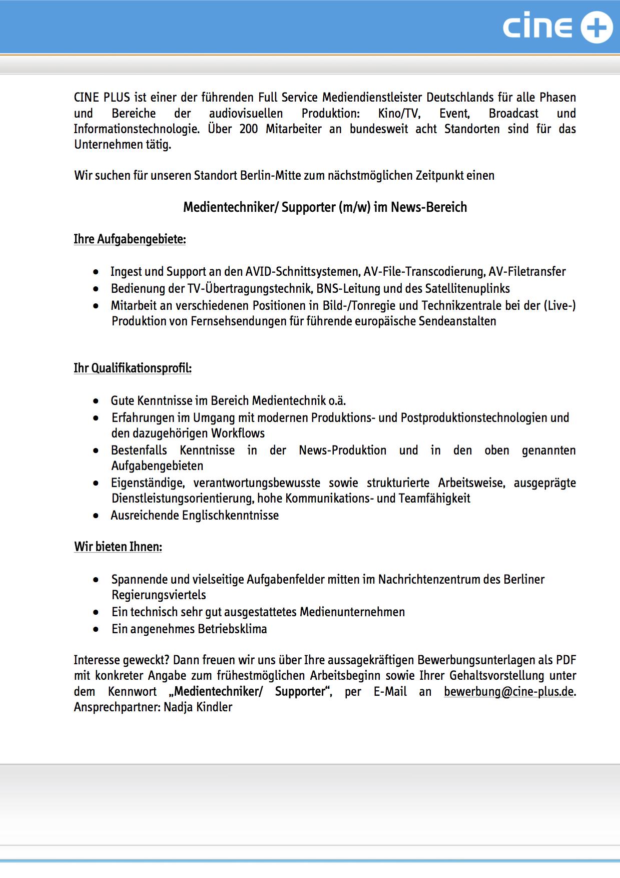 Cine Plus Media Service Gmbh Co Kg Berlin Sucht Medientechniker