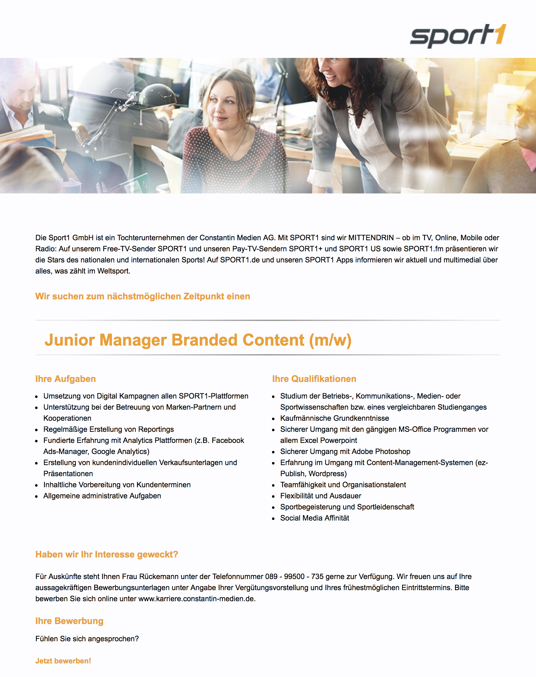 Junior Manager Branded Content (m/w)