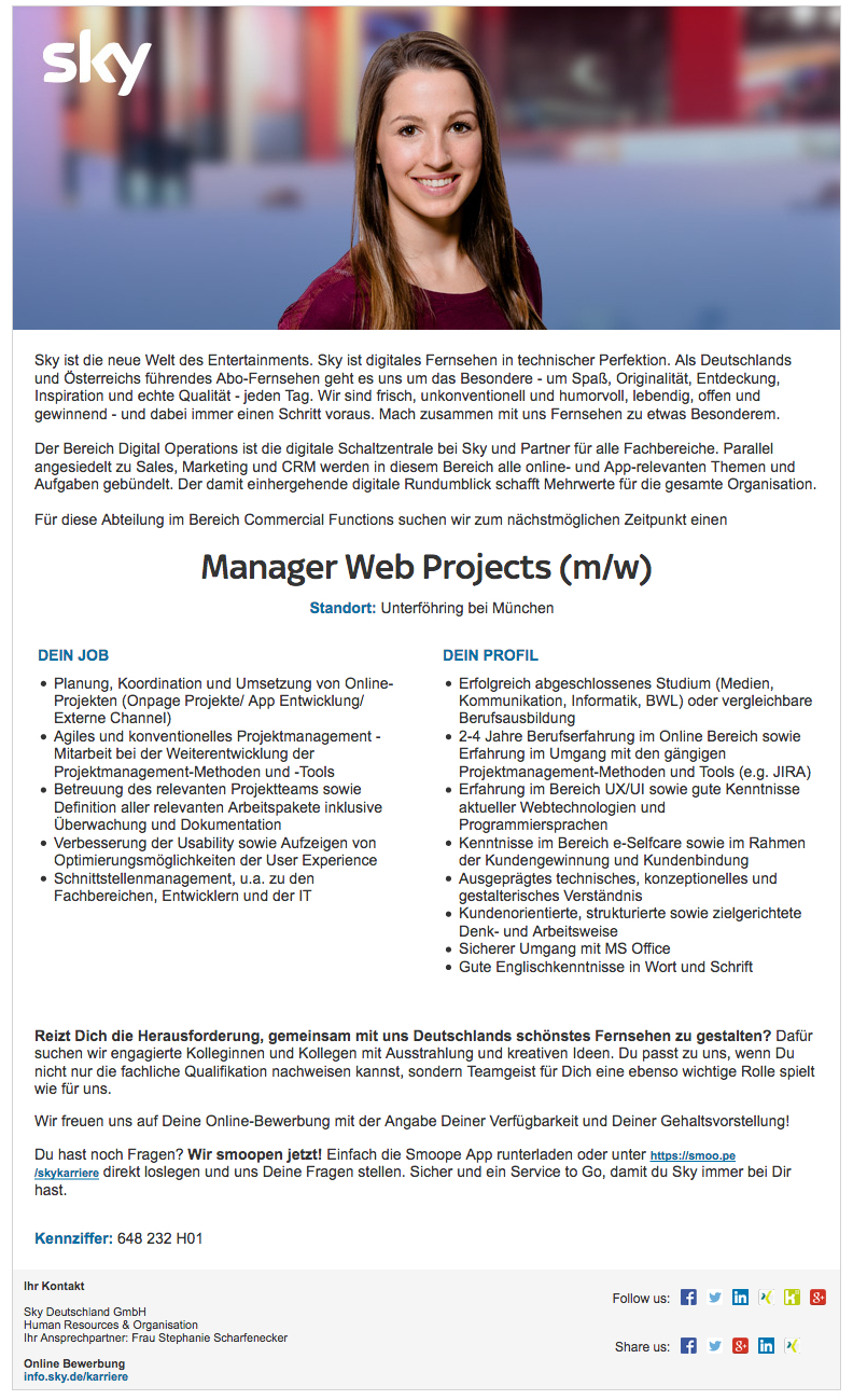 Manager Web Projects (m/w)