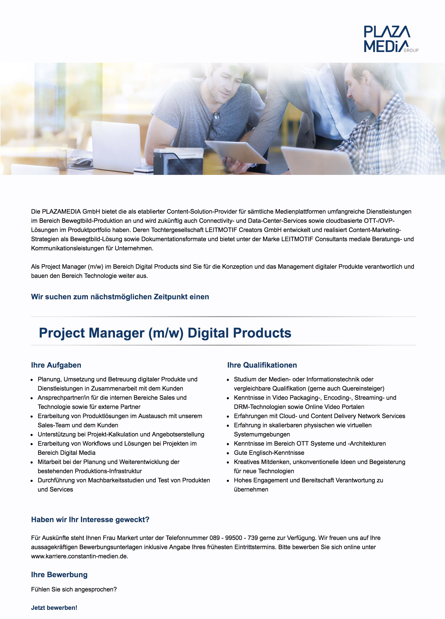 Project Manager (m/w) Digital Products