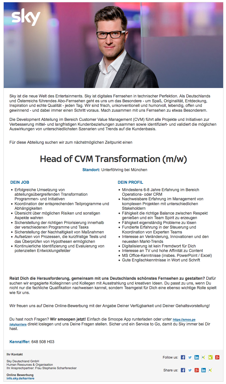 Head of CVM Transformation (m/w)