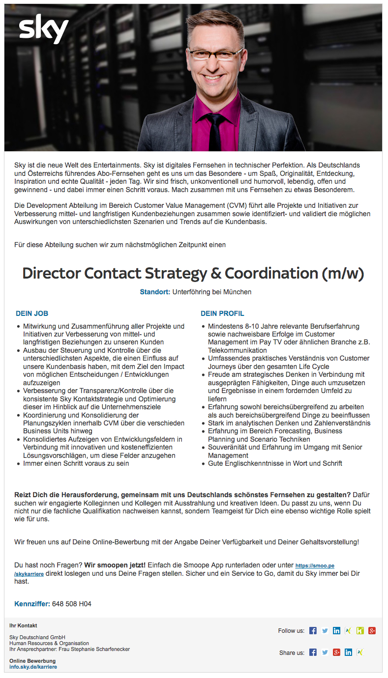 Director Contact Strategy & Coordination (m/w)