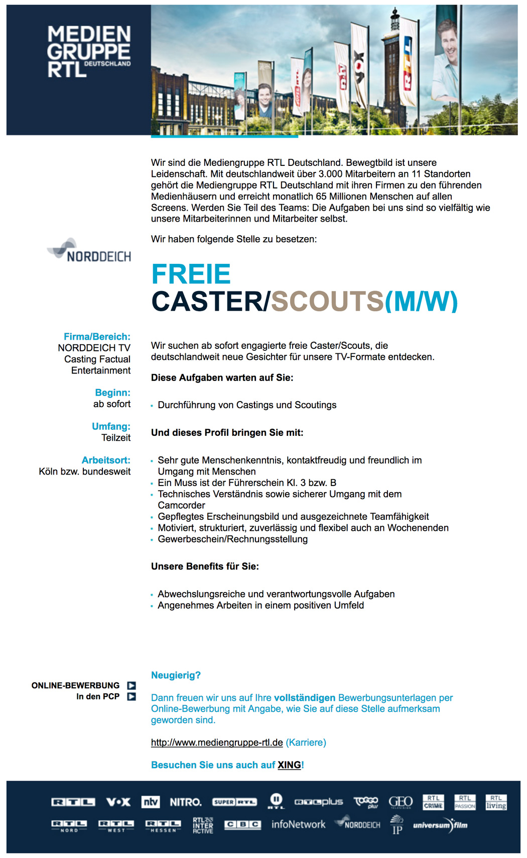 Freie Caster / Scouts (m/w) (Norddeich TV)