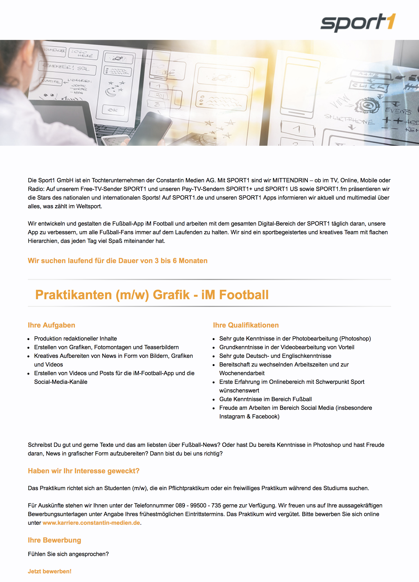 Praktikanten (m/w) Grafik - iM Football
