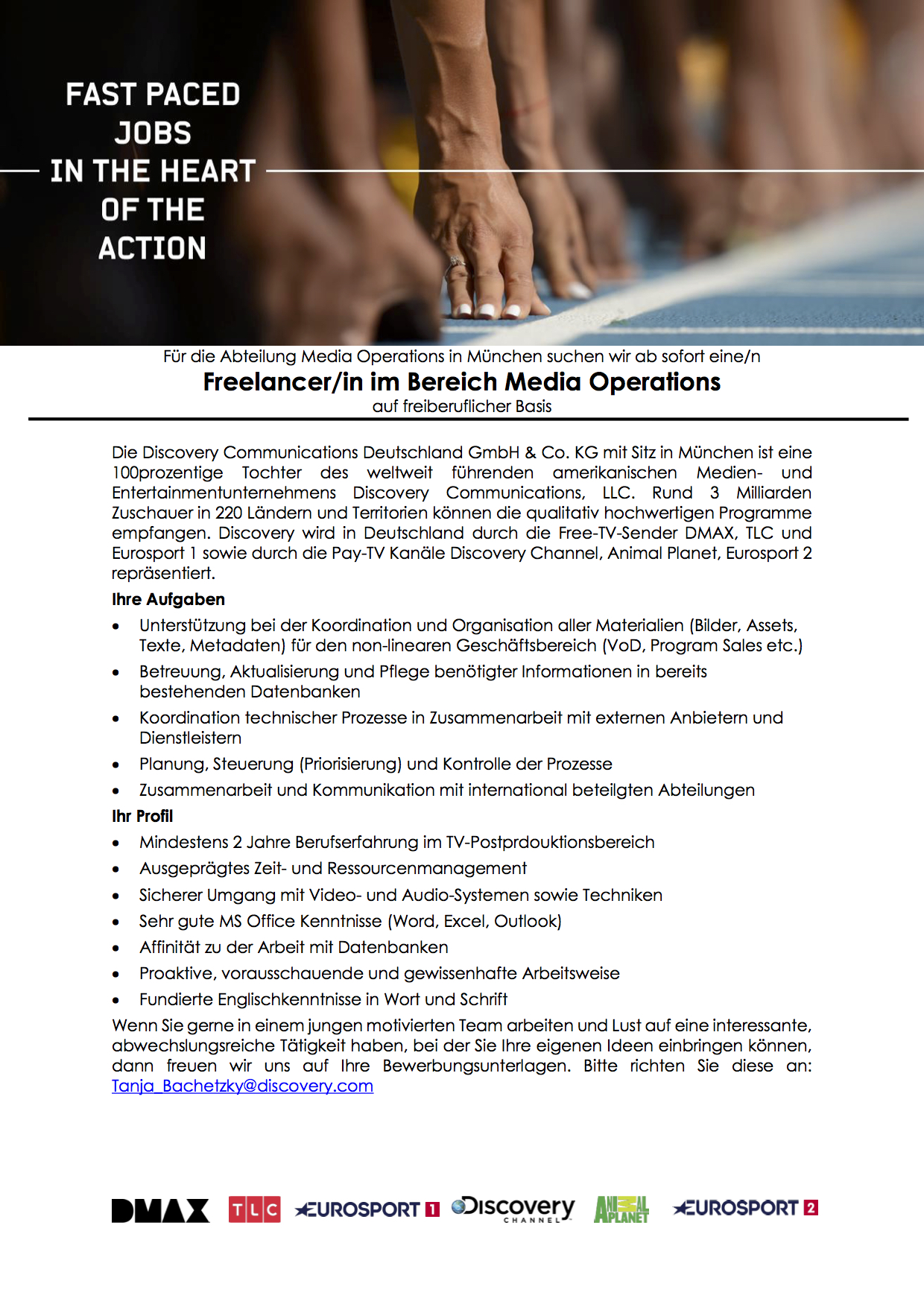 Freelancer/in im Bereich Media Operations
