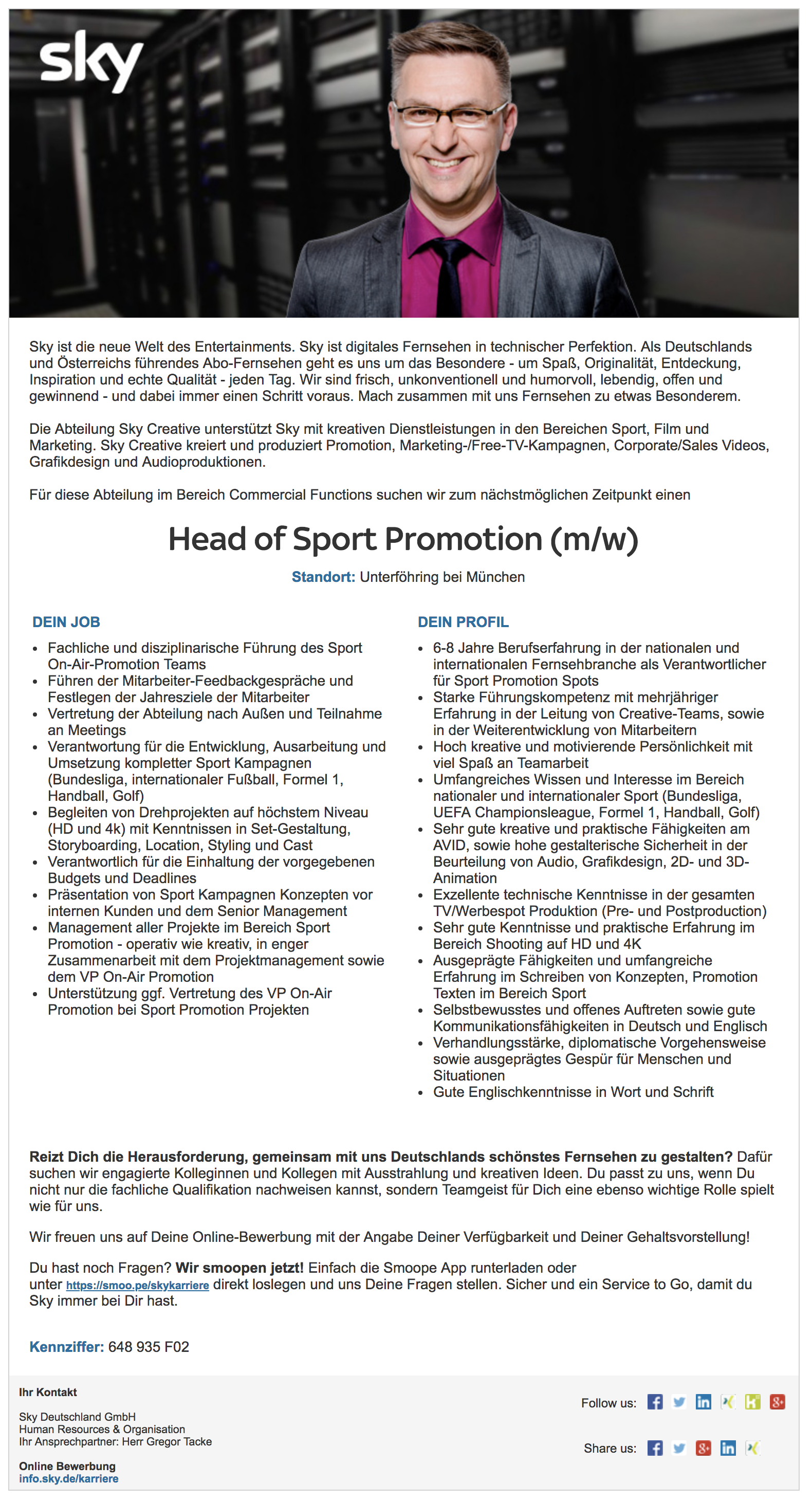 Head of Sport Promotion (m/w)