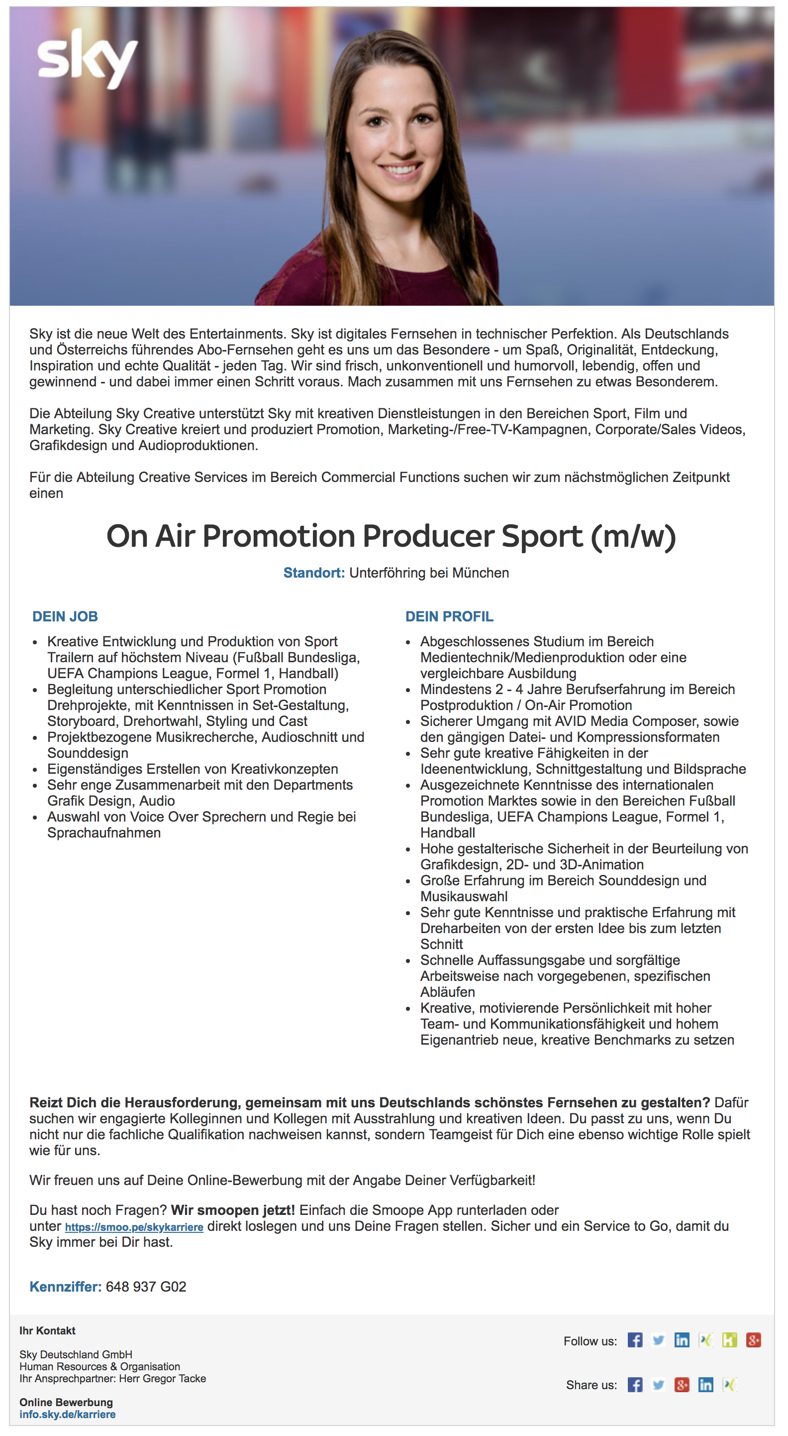 On Air Promotion Producer Sport (m/w)