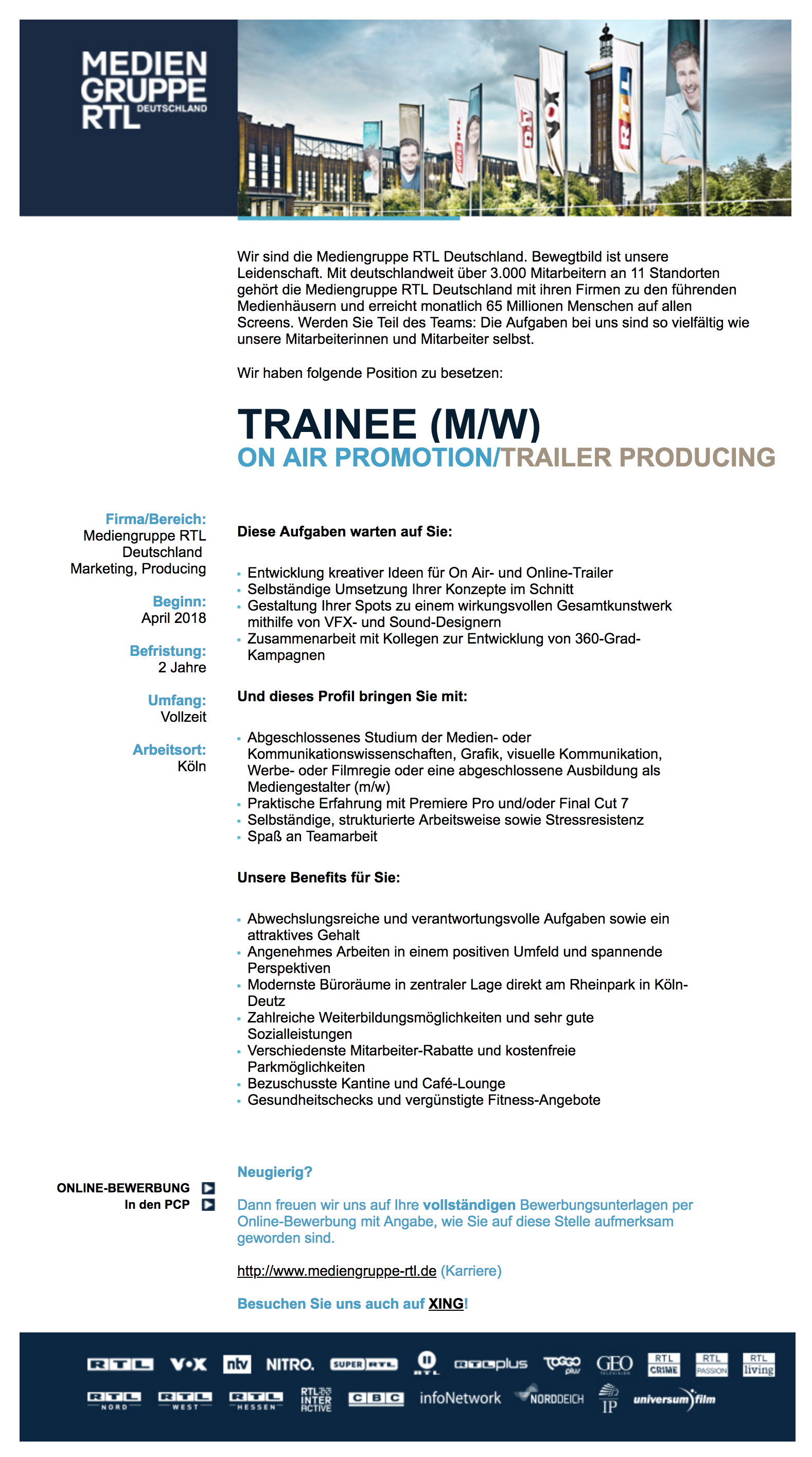 Trainee (m/w) On Air Promotion / Trailer Producing