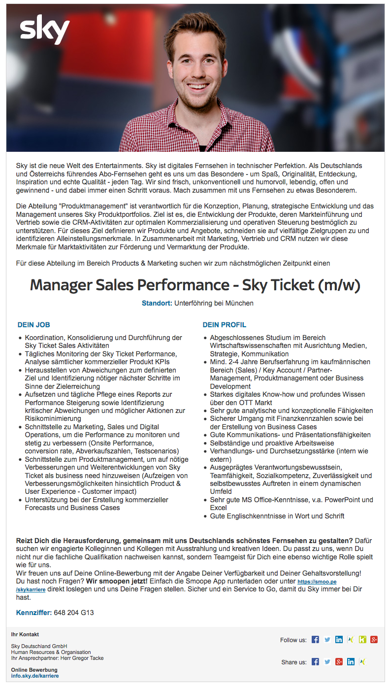 Senior Manager Sales Performance - Sky Ticket (m/w)