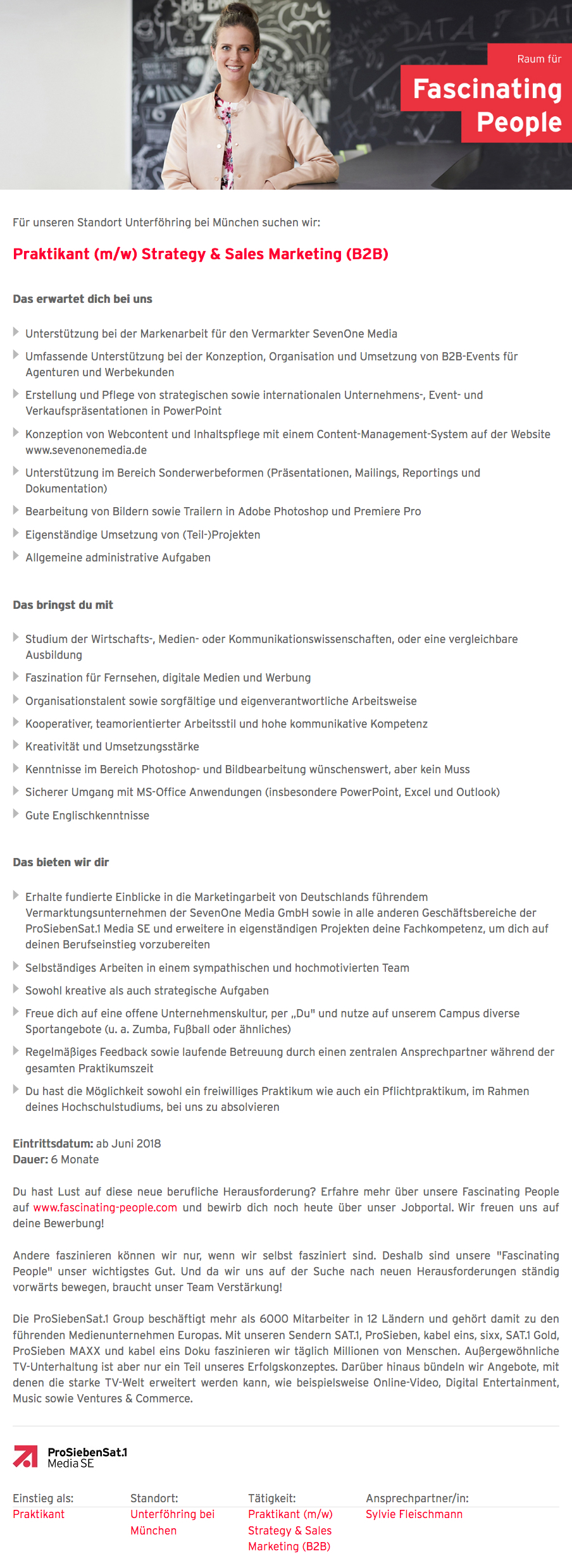 Praktikant (m/w) Strategy & Sales Marketing (B2B)