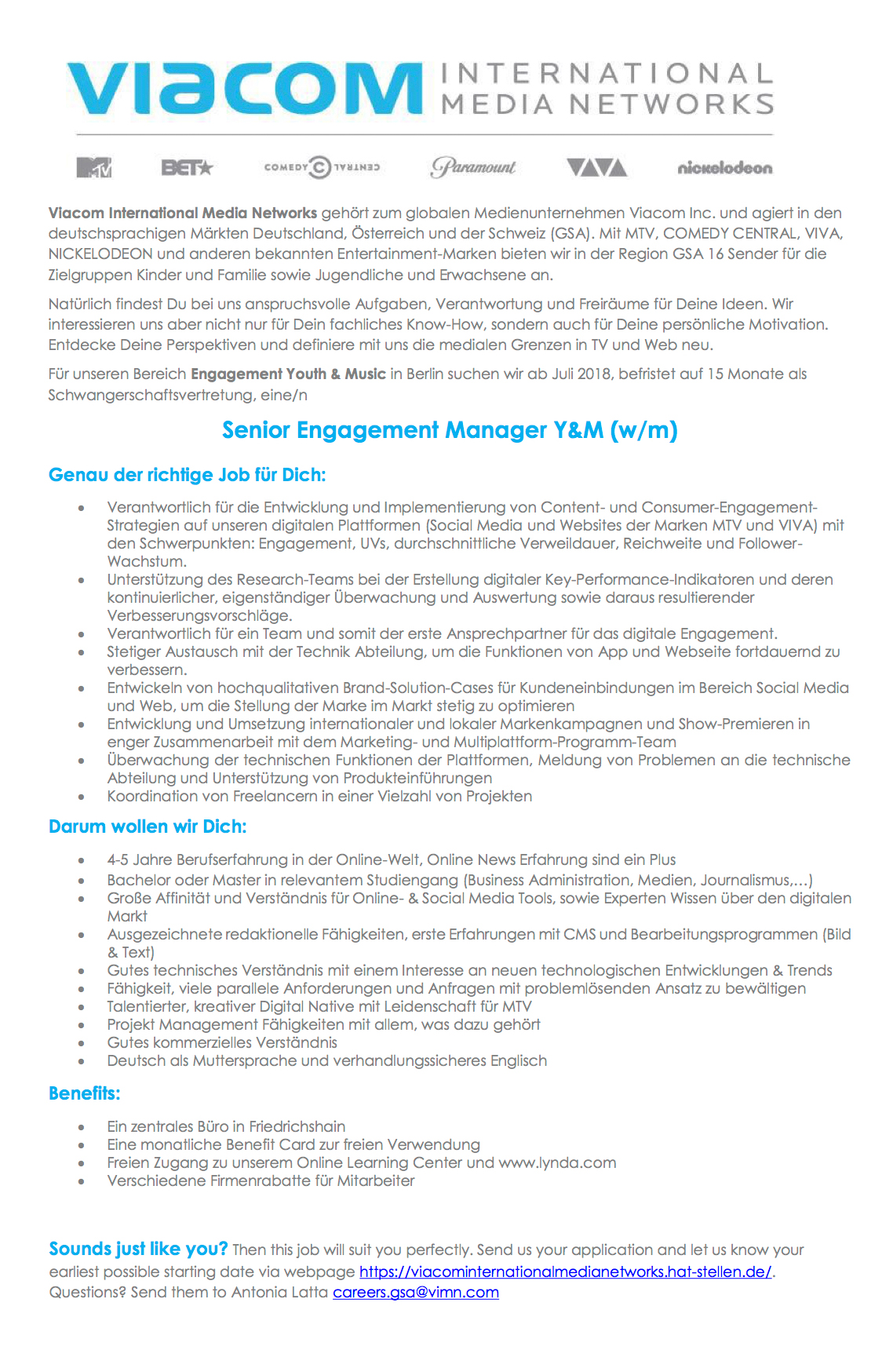 Senior Engagement Manager Y&M (w/m)