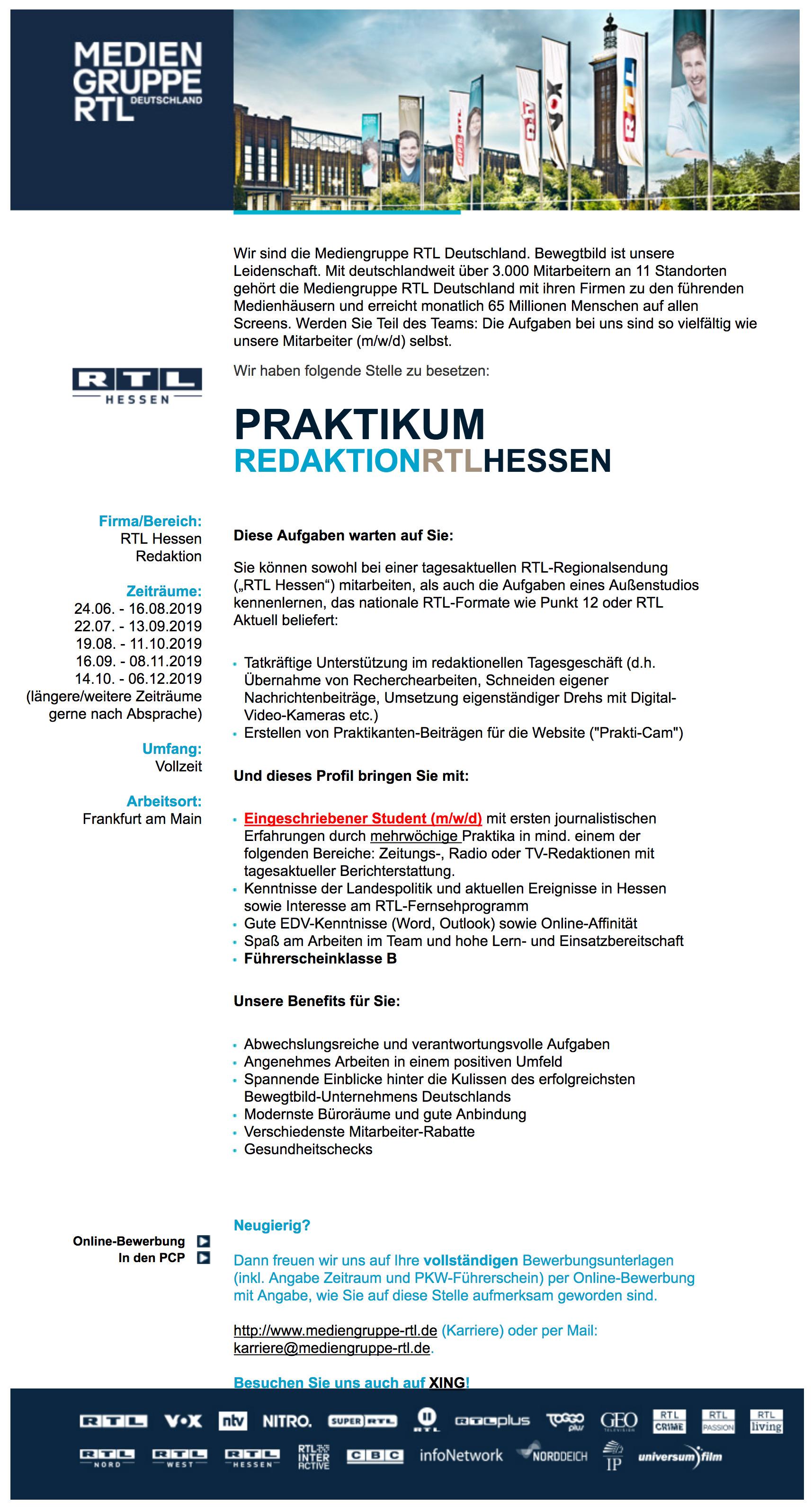 Mediengruppe Rtl Deutschland Frankfurt Am Main Bietet Praktikum
