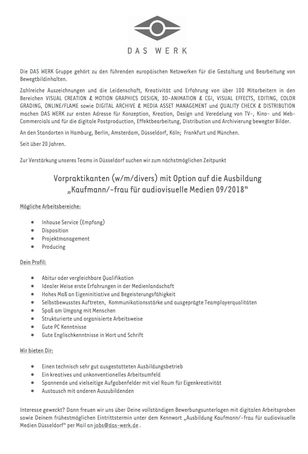 DAS WERK Düsseldorf GmbH (Düsseldorf) sucht Vorpraktikanten (w/m ...