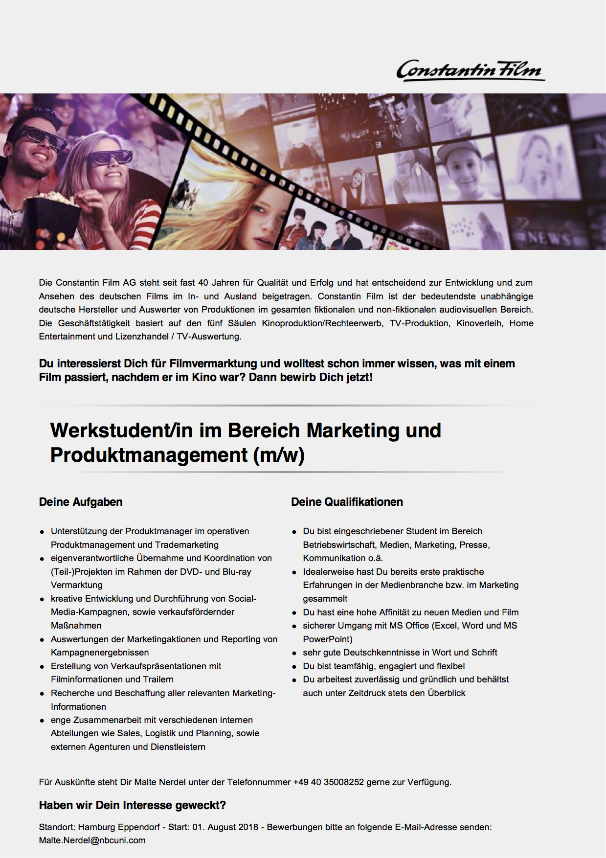 Werkstudent/in im Bereich Marketing und Produktmanagement (m/w)