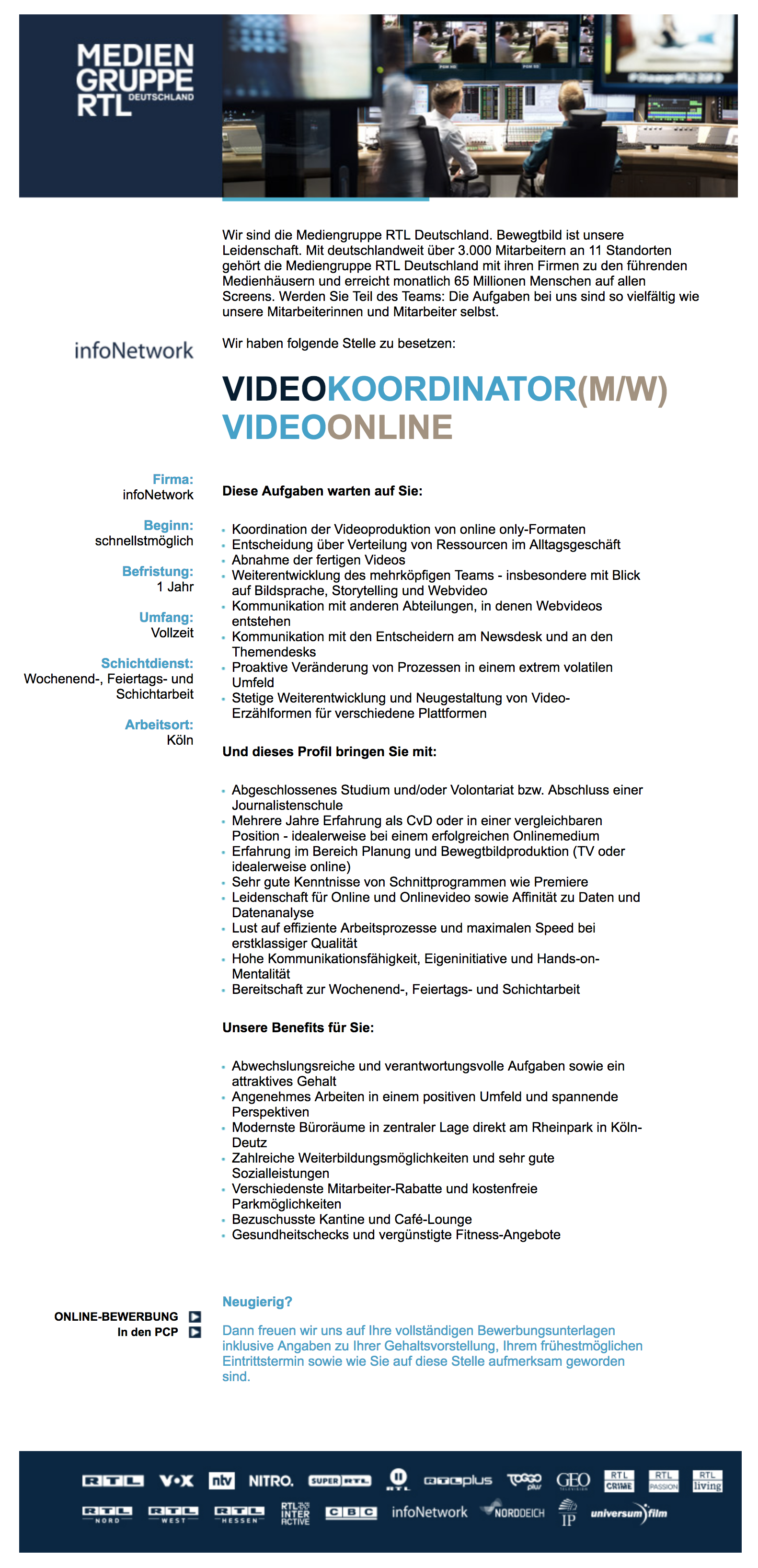 Video Koordinator (m/w) Video Online (infoNetwork)