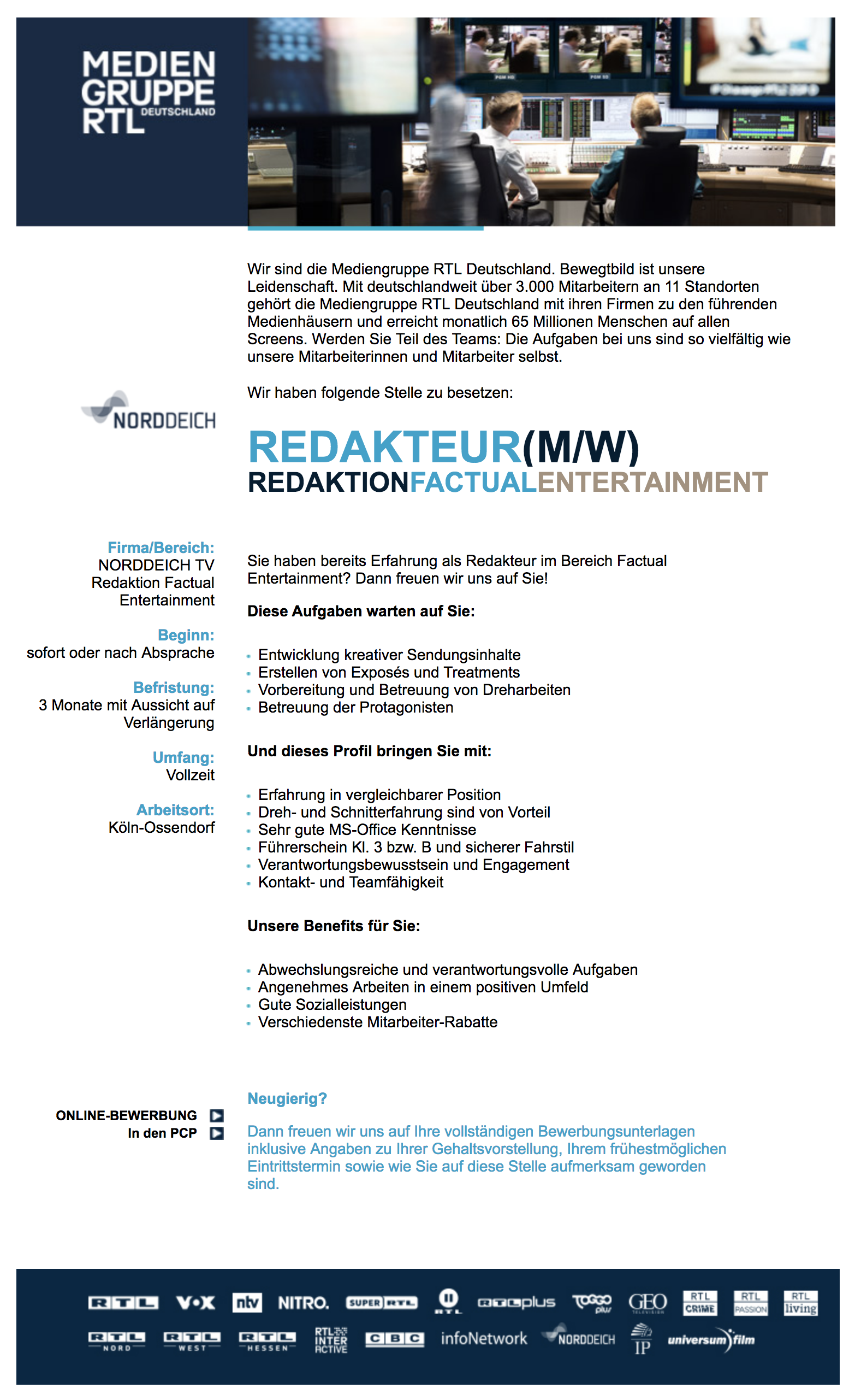 Redakteur (m/w) Redaktion Factual Entertainment (NORDDEICH TV)