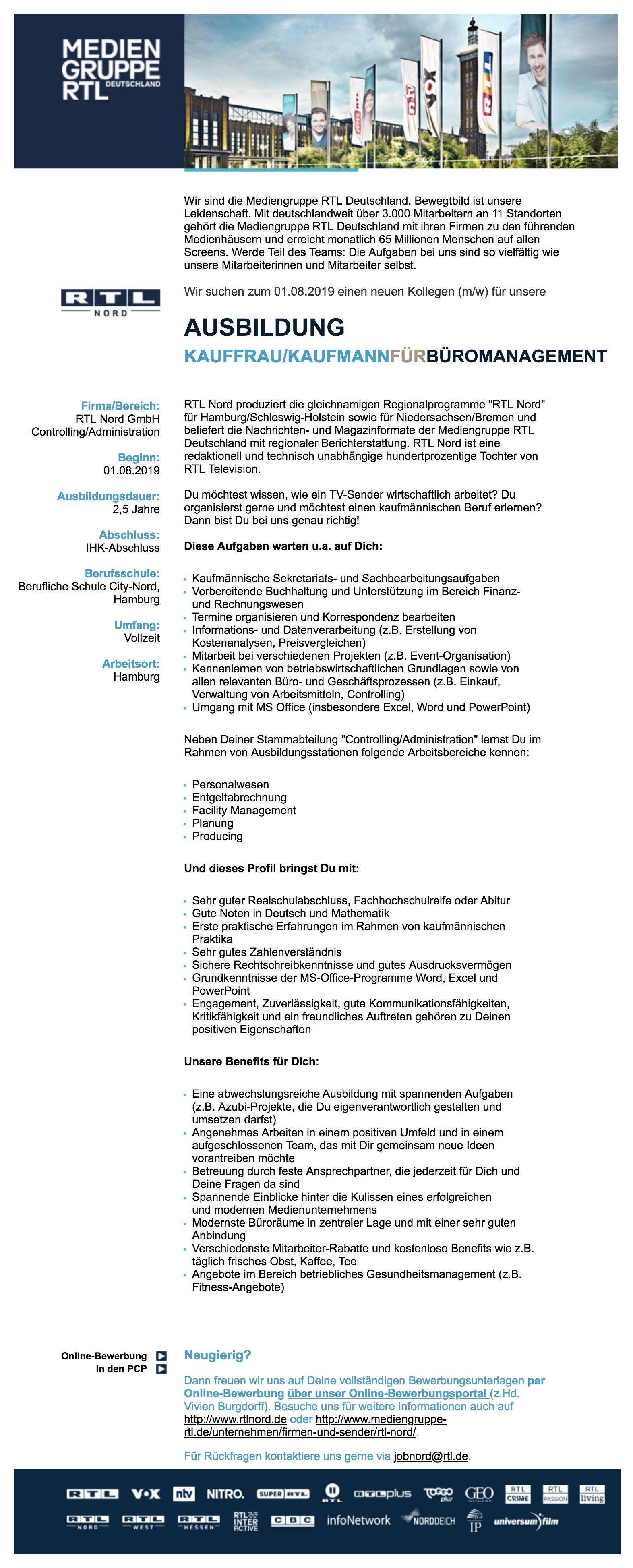 ausbildung kauffraukaufmann fr bromanagement rtl nord - Bewerbung Ausbildung Kauffrau Fr Bromanagement