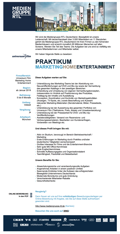 Praktikum Marketing Home Entertainment ab Januar 2019 (Universum Film)