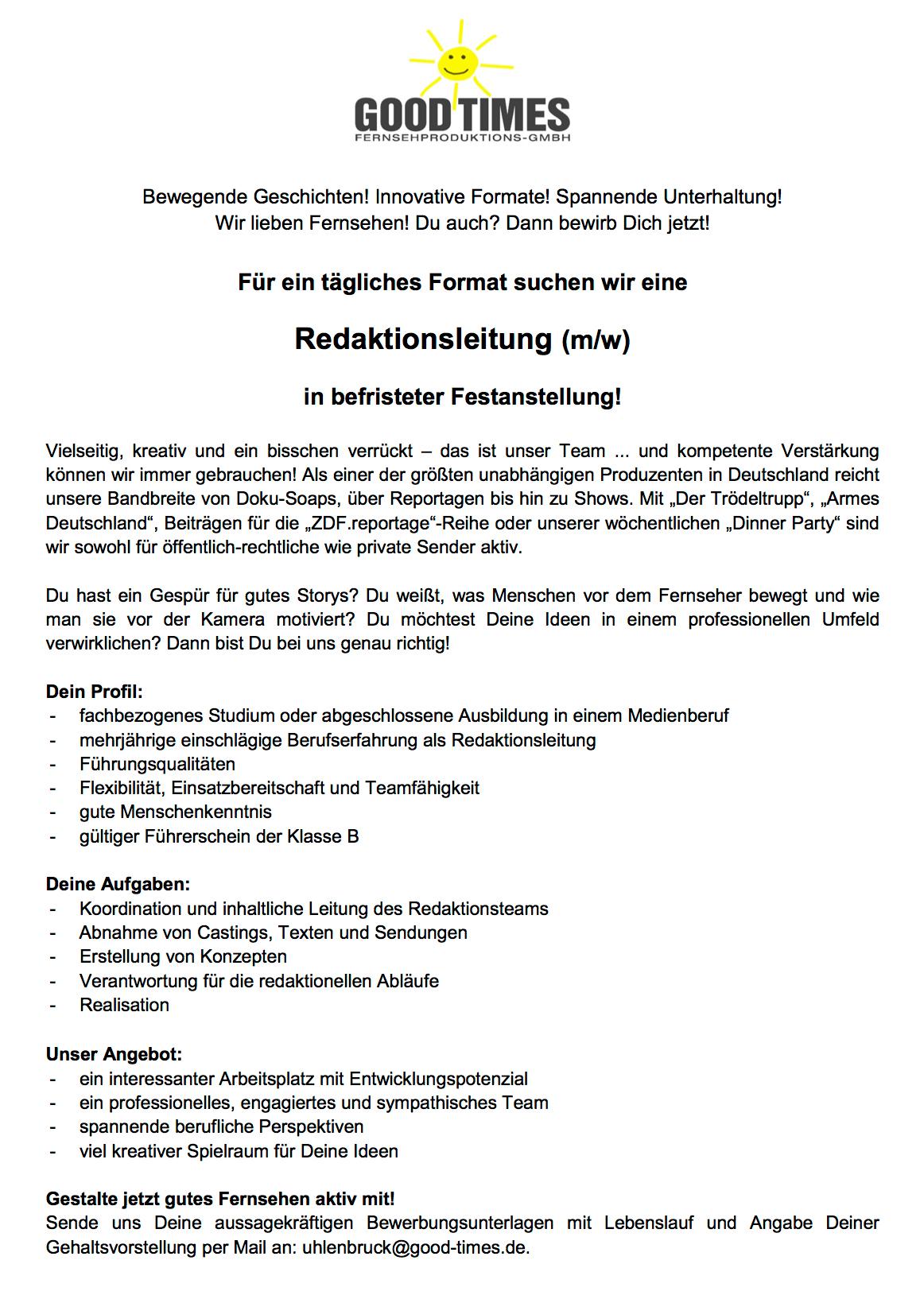 Good Times Fernsehproduktions-GmbH (Köln) sucht Redaktionsleitung (m ...