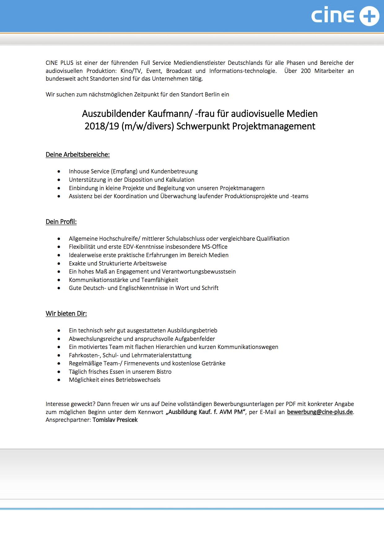 cine plus Media Service GmbH & Co. KG (Berlin) sucht Auszubildender ...