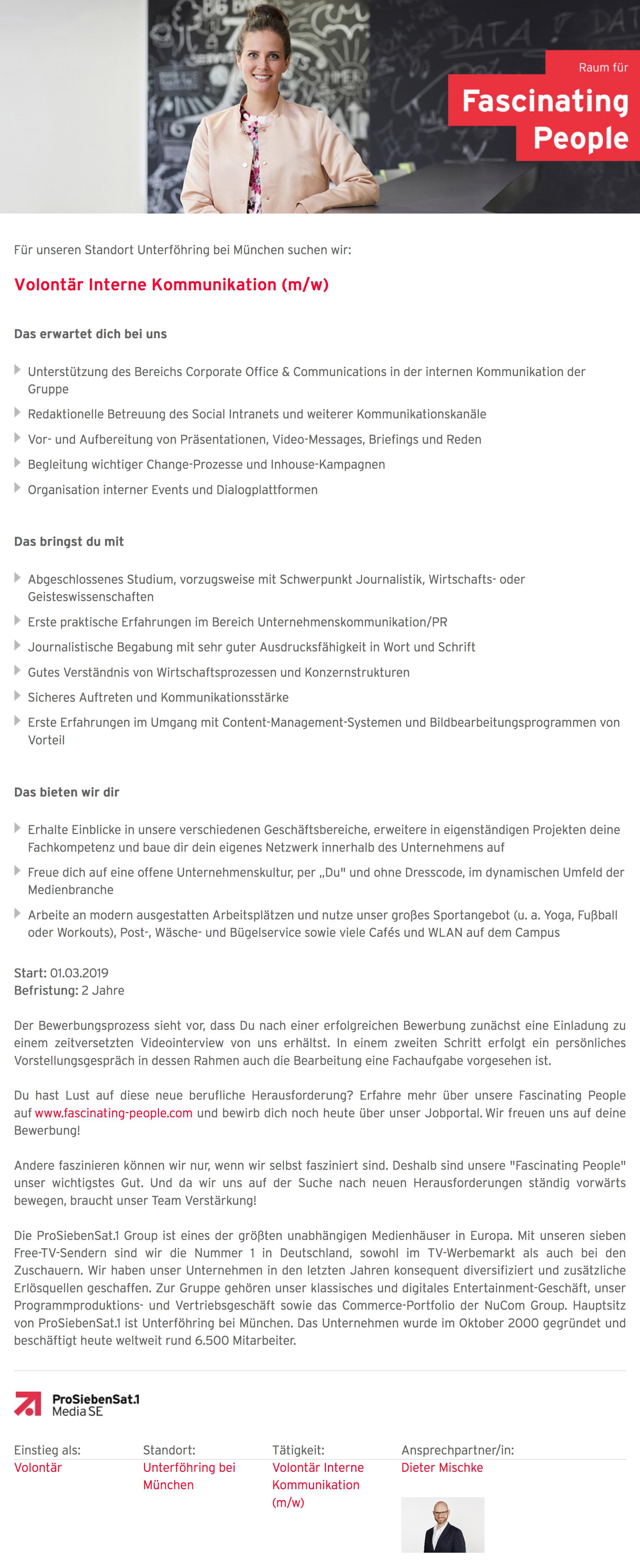 volontr interne kommunikation mw - Prosieben Bewerbung