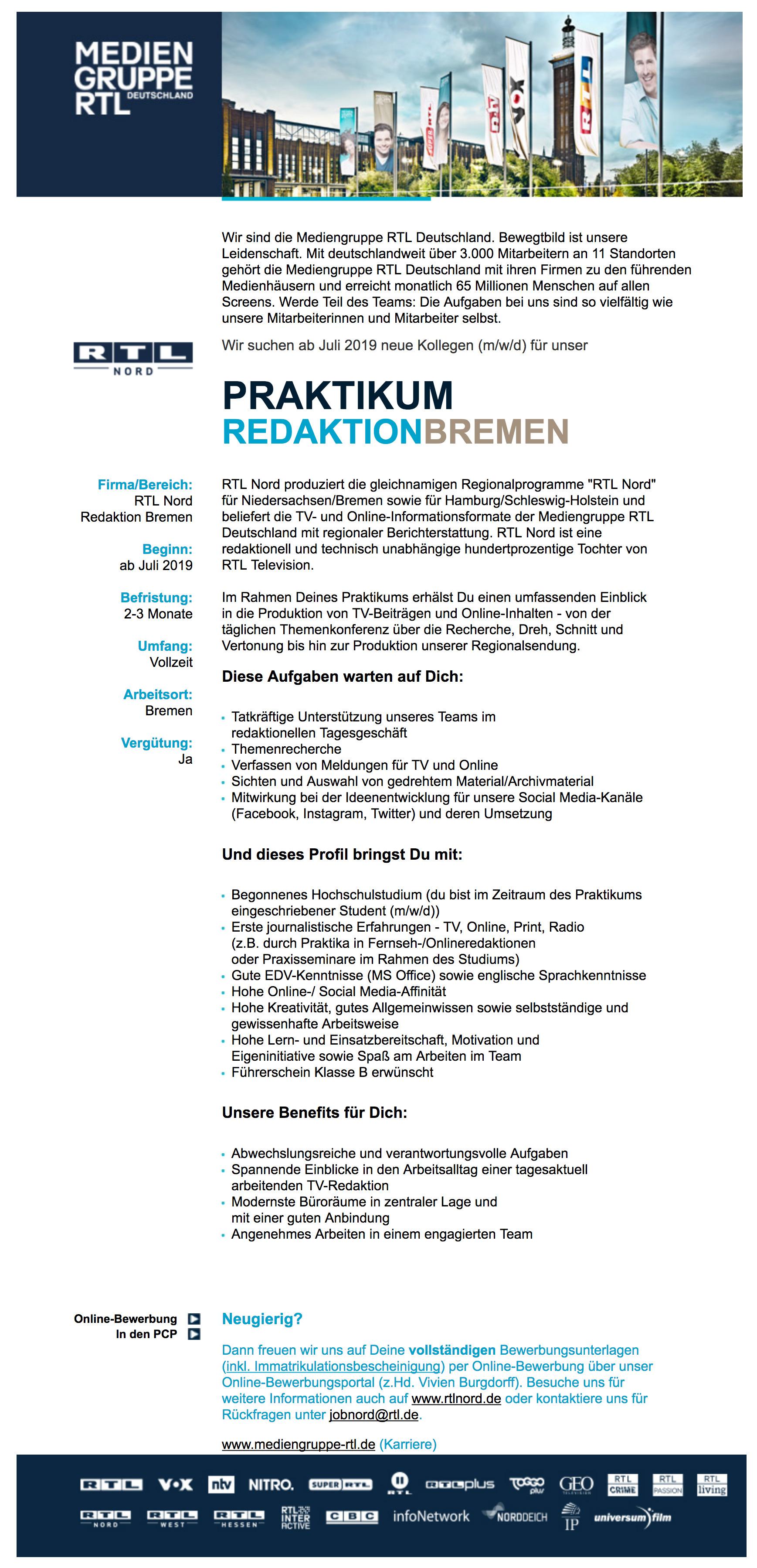 Mediengruppe Rtl Deutschland Bremen Bietet Praktikum Redaktion