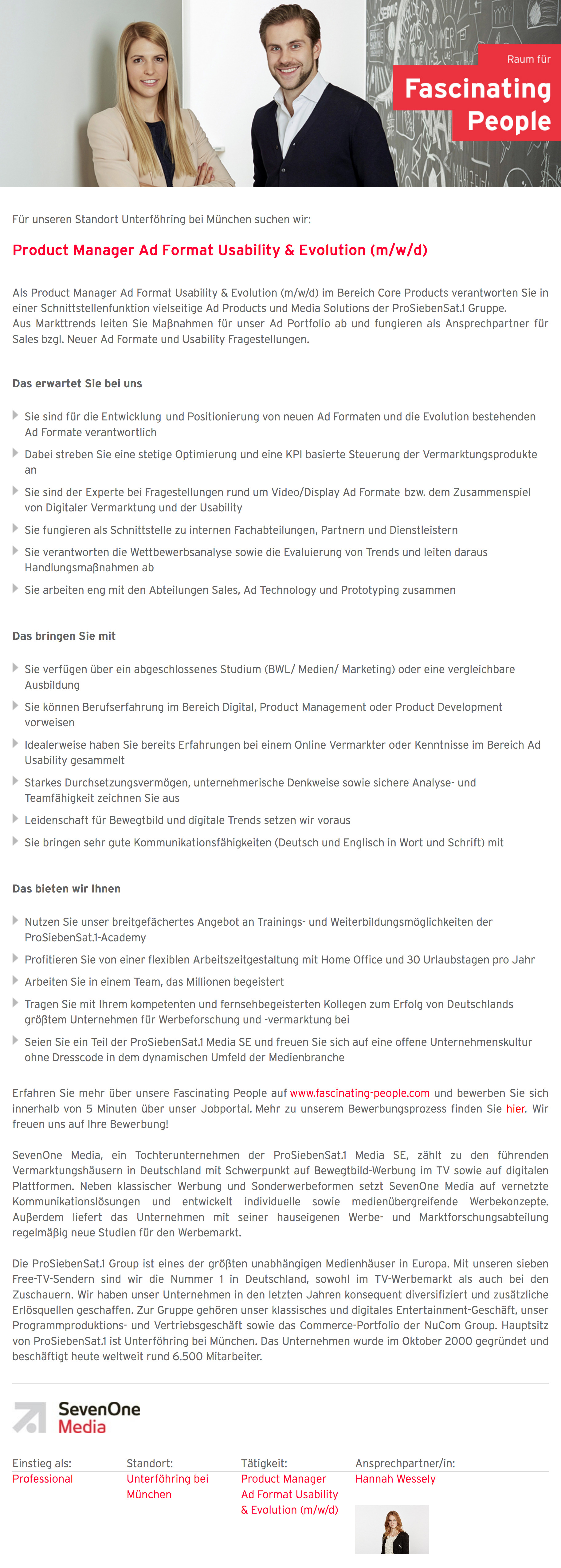 Product Manager Ad Format Usability & Evolution (m/w/d)