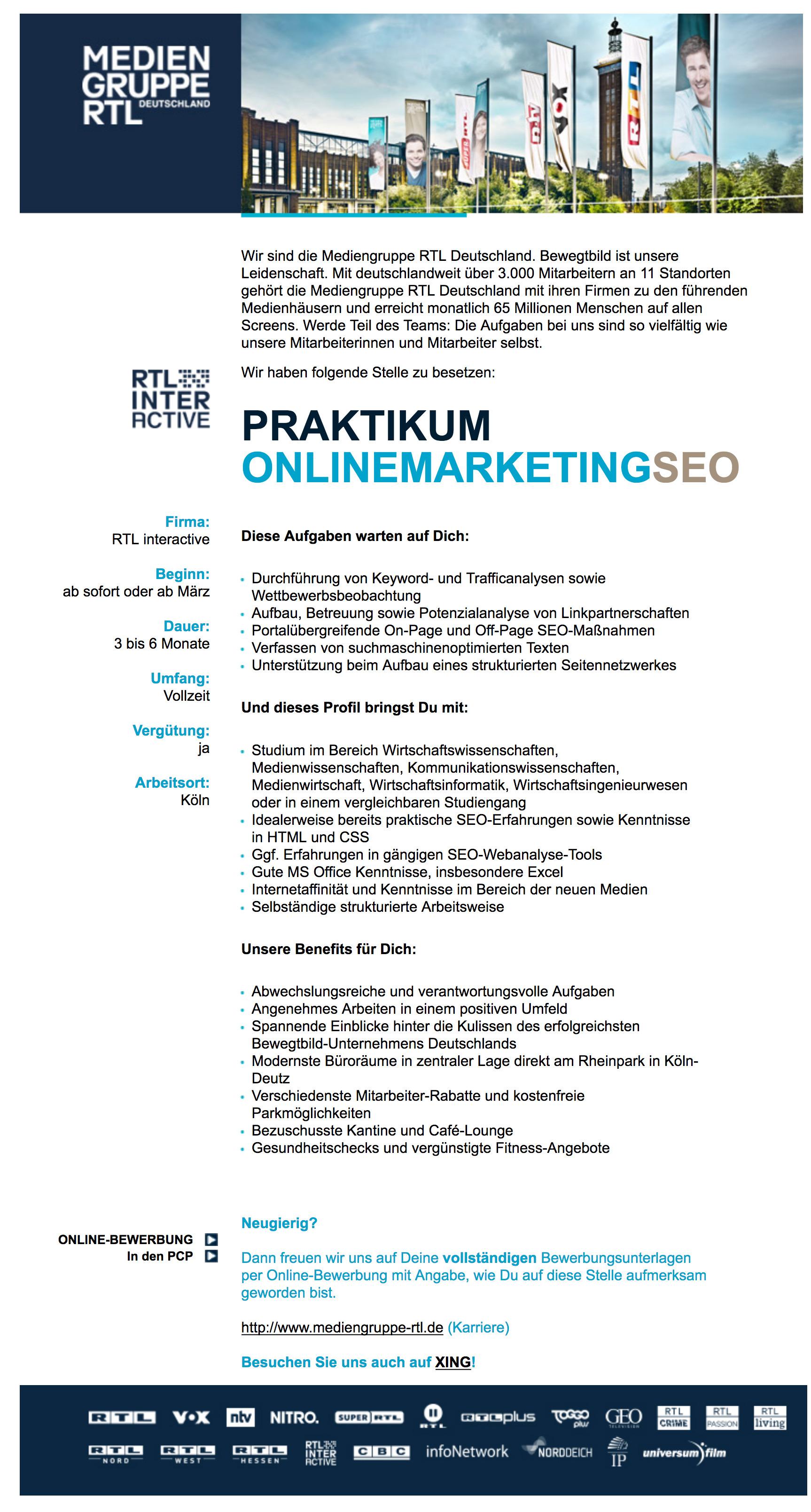 Mediengruppe Rtl Deutschland Köln Bietet Praktikum Onlinemarketing