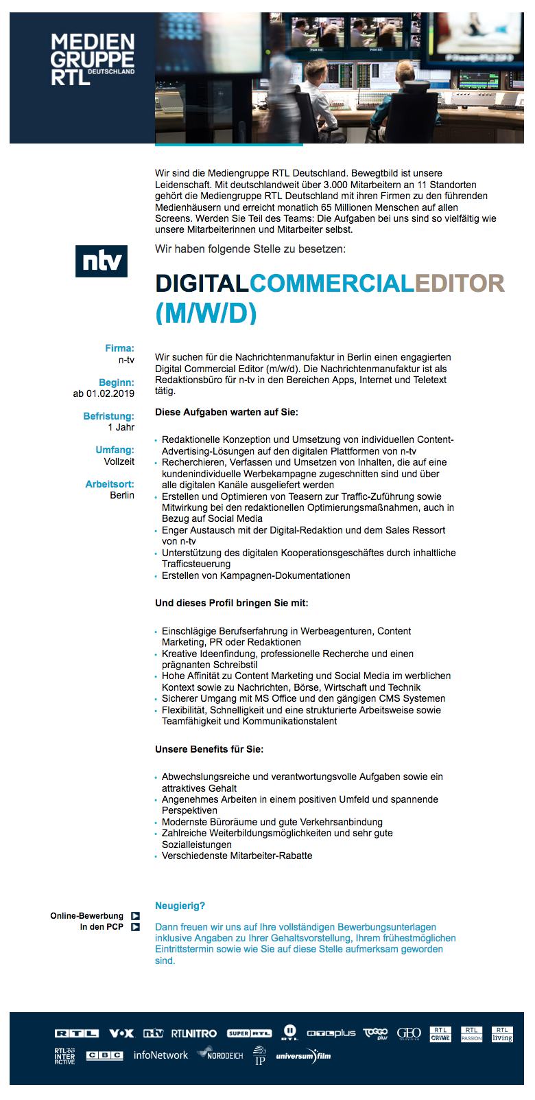 Digital Commercial Editor (m/w/d) (n-tv)