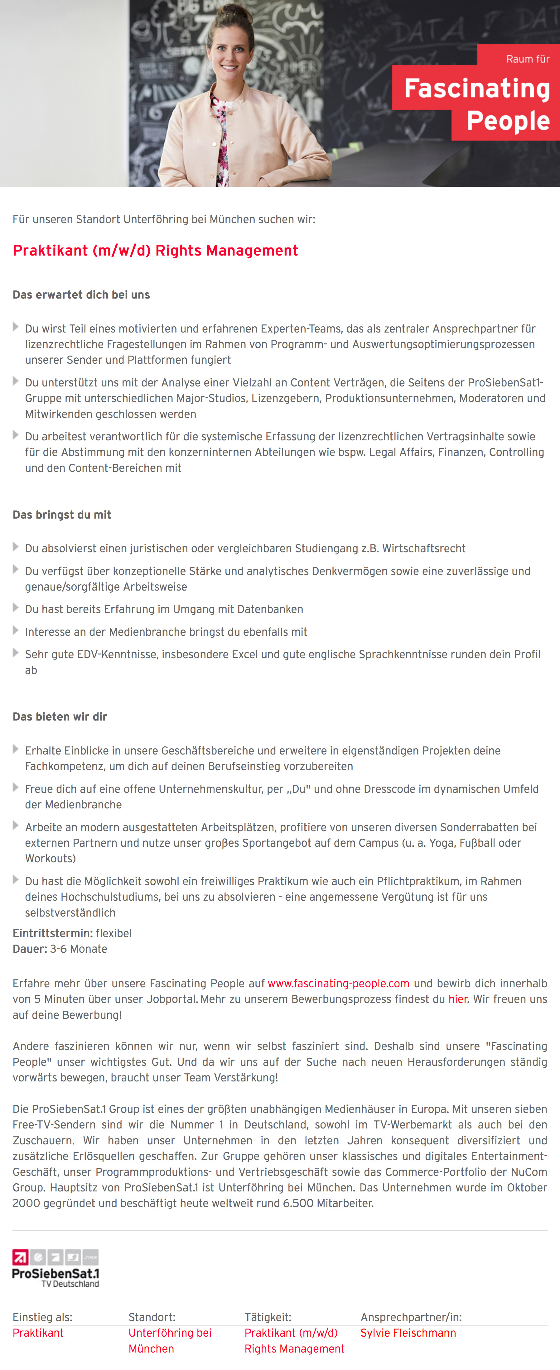 Praktikant (m/w/d) Rights Management