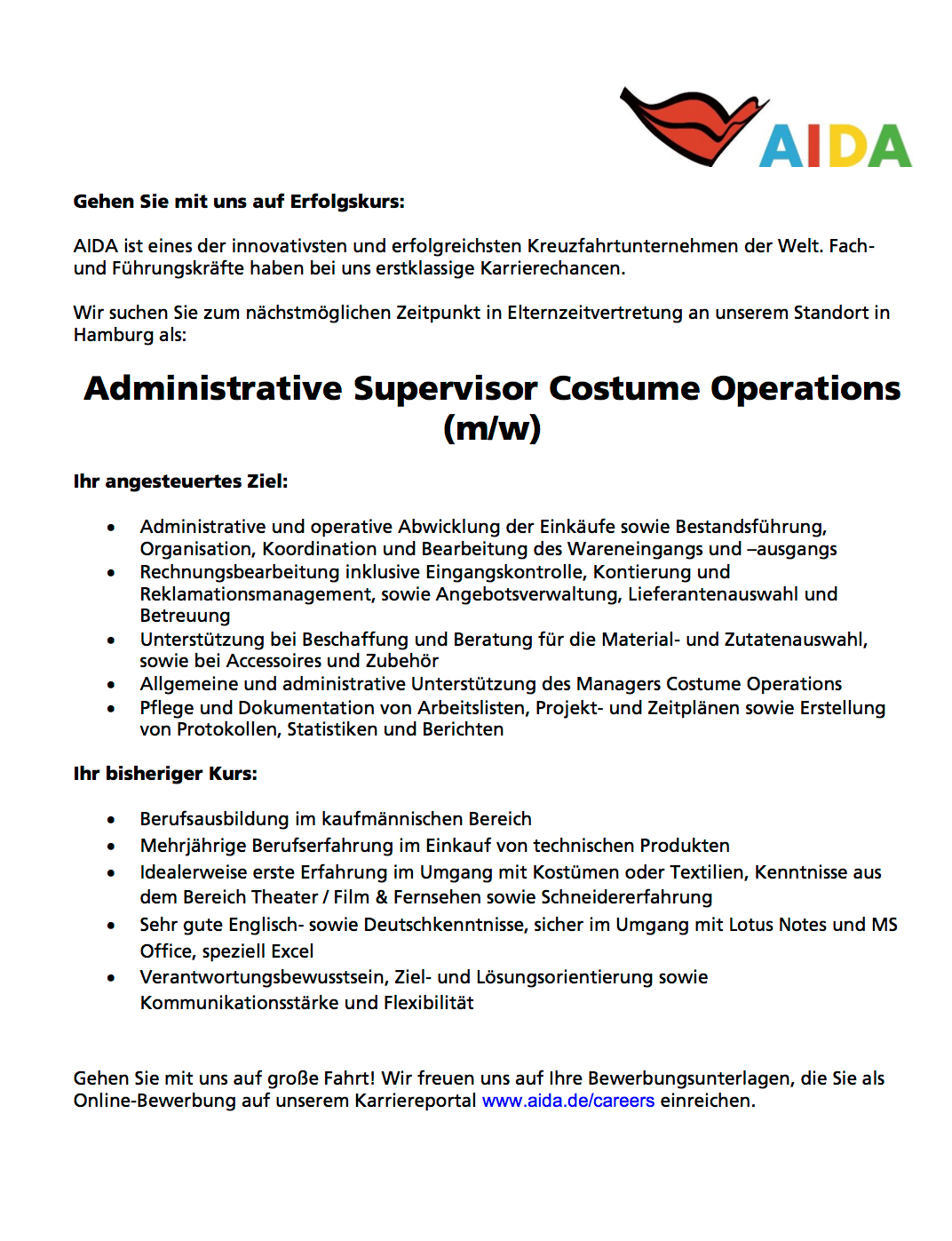 Administrative Supervisor Costume Operations (m/w)