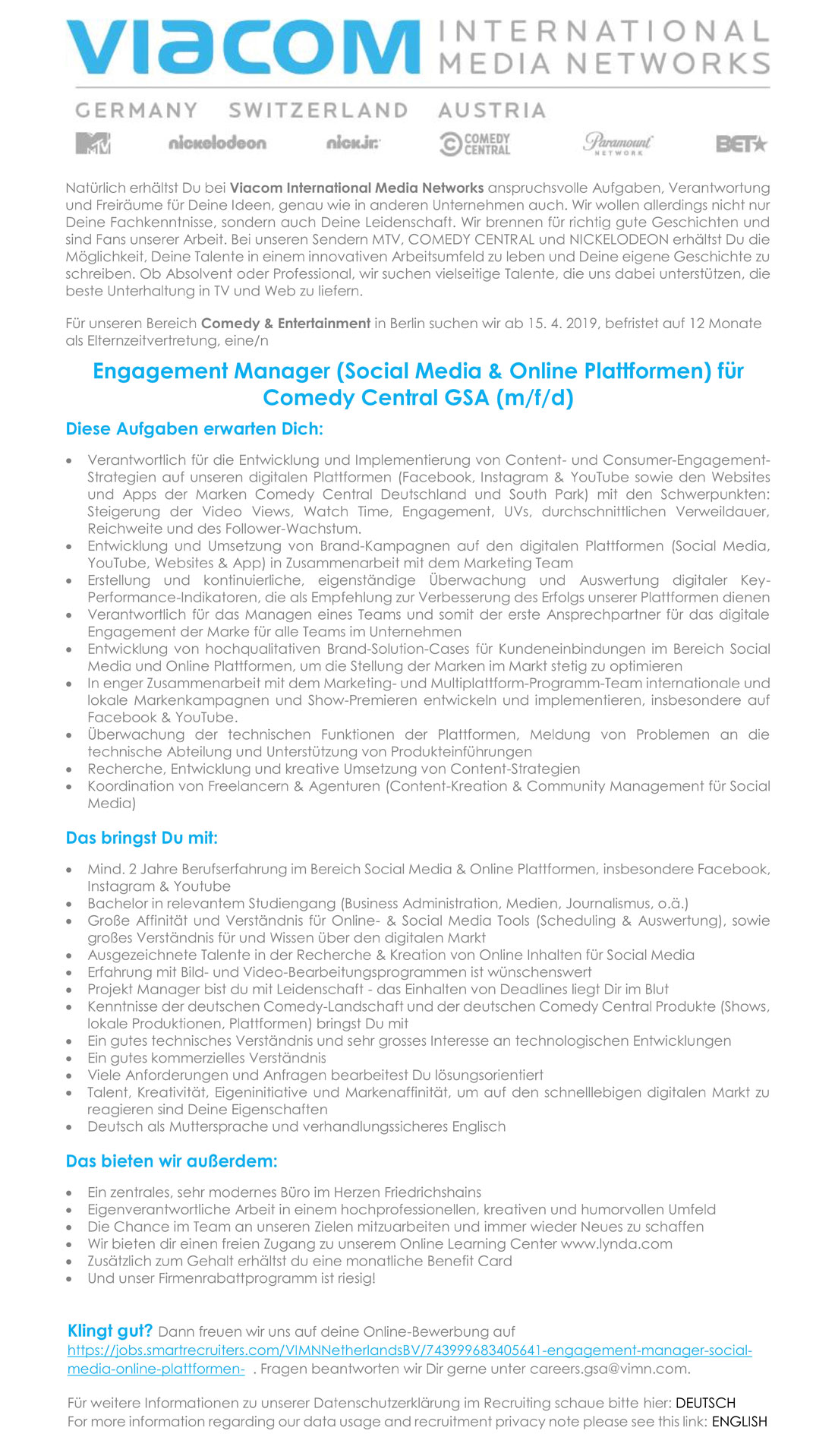 Engagement Manager (Social Media & Online Plattformen für Comedy Central GSA (m/f/d)