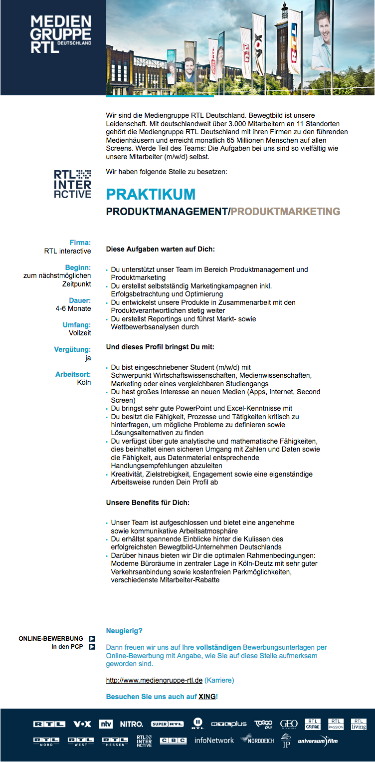 Praktikum Produktmanagement/Produktmarketing (RTL interactive)