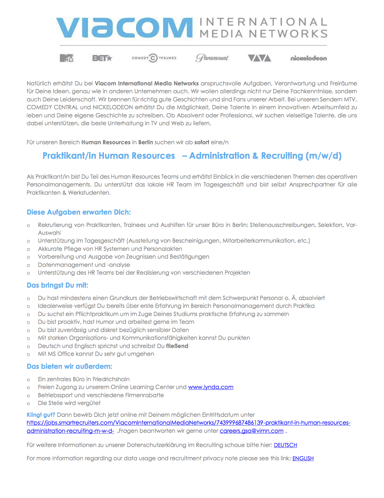 Praktikant/in Human Resources - Administration & Recruiting (m/w/d)