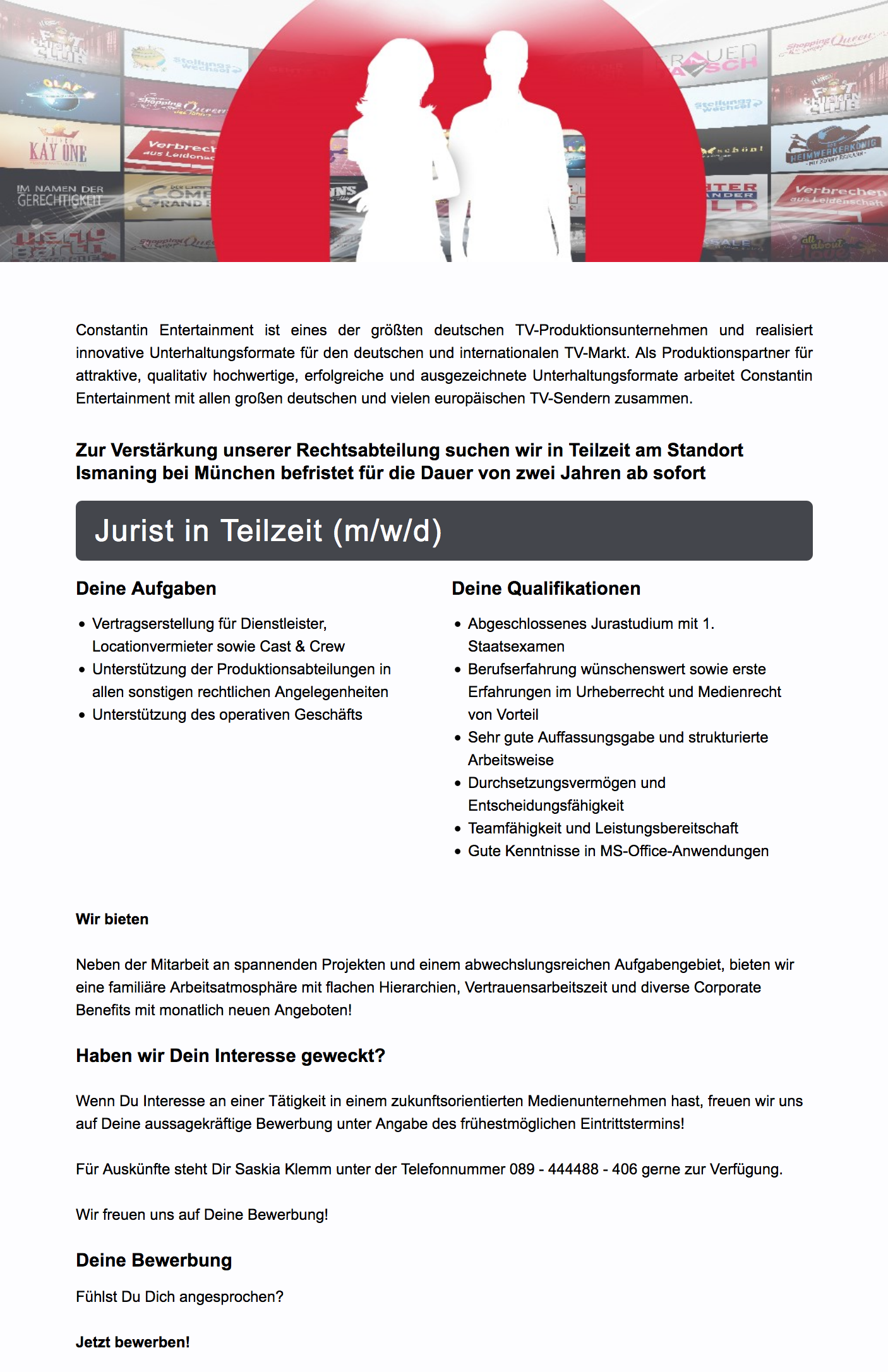Jurist in Teilzeit (m/w/d)