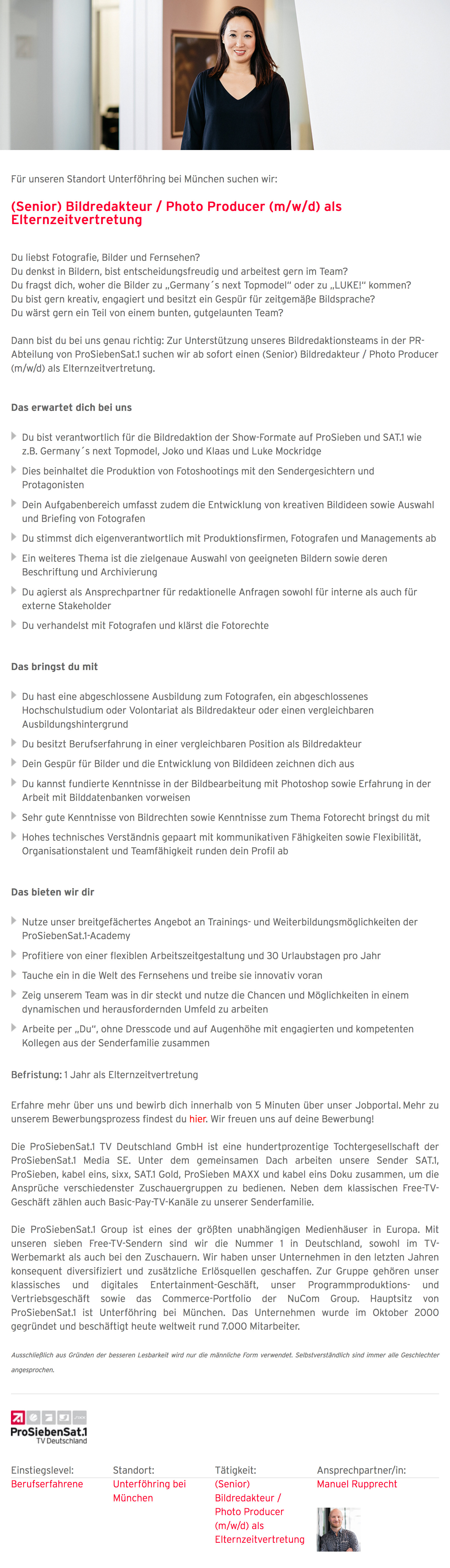 (Senior) Bildredakteur / Photo Producer (m/w/d) als Elternzeitvertretung