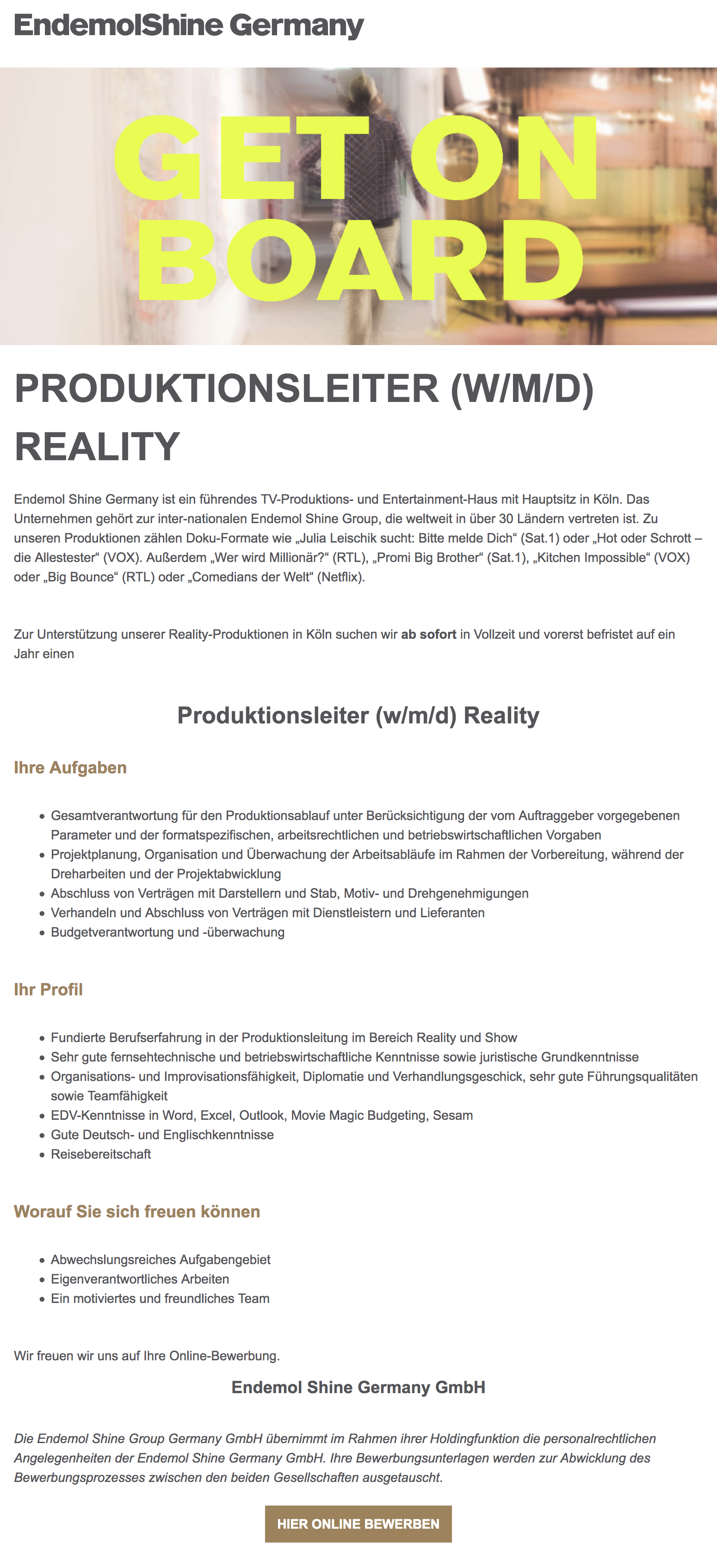 Produktionsleiter (w/m/d) Reality